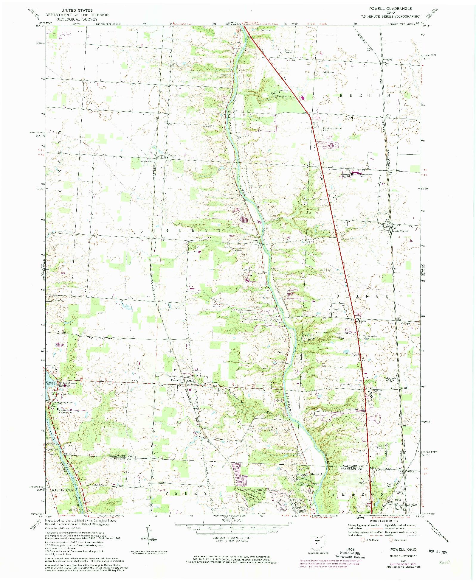 USGS 1:24000-SCALE QUADRANGLE FOR POWELL, OH 1967