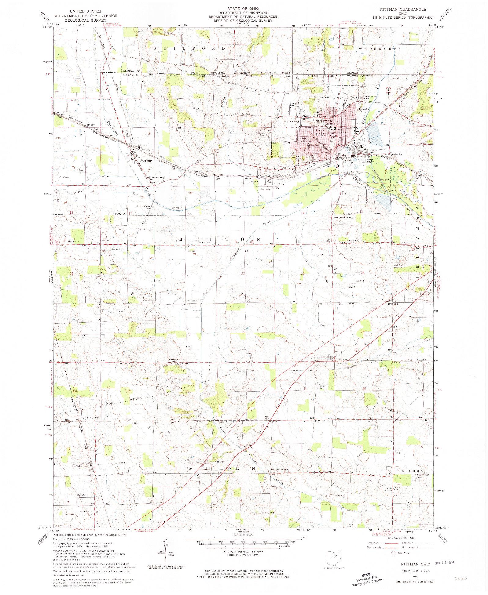 USGS 1:24000-SCALE QUADRANGLE FOR RITTMAN, OH 1961