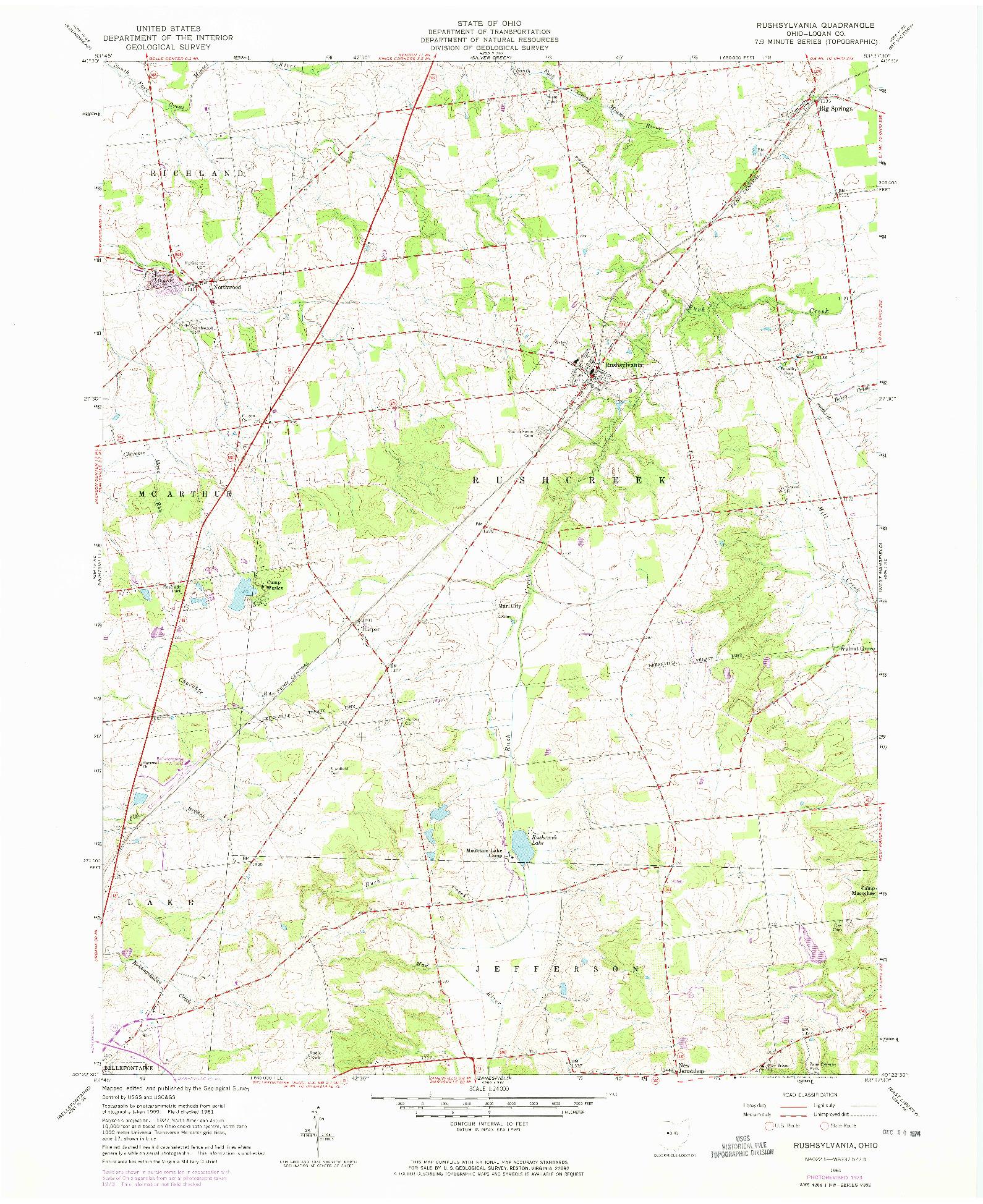 USGS 1:24000-SCALE QUADRANGLE FOR RUSHSYLVANIA, OH 1961