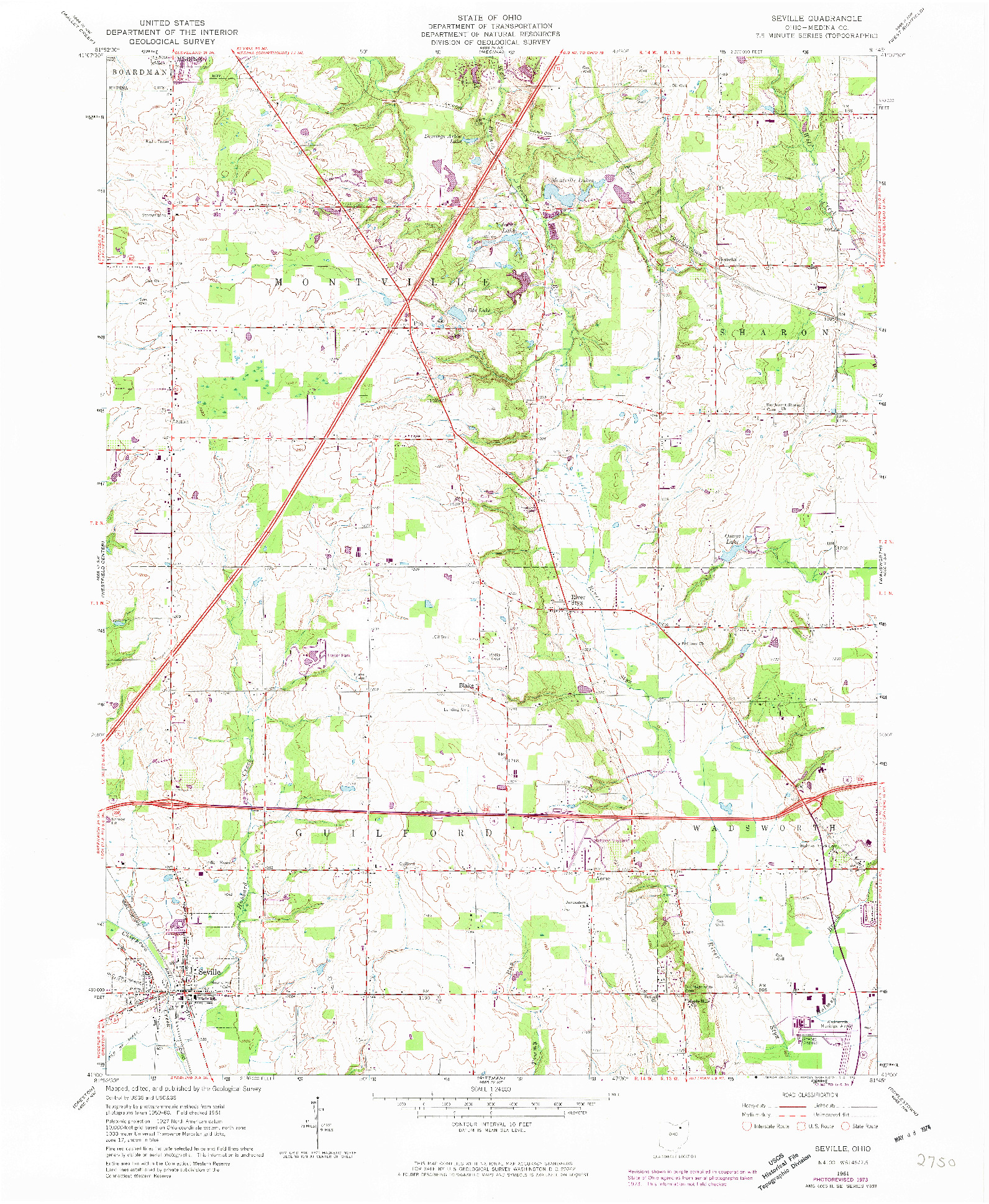 USGS 1:24000-SCALE QUADRANGLE FOR SEVILLE, OH 1961