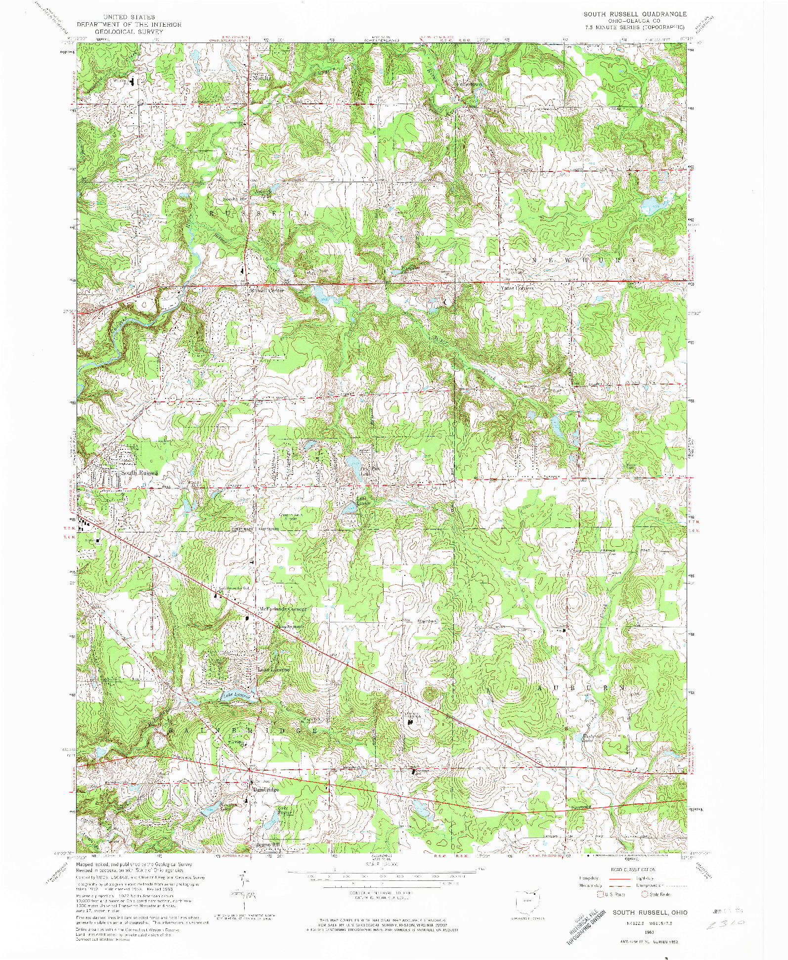 USGS 1:24000-SCALE QUADRANGLE FOR SOUTH RUSSELL, OH 1963