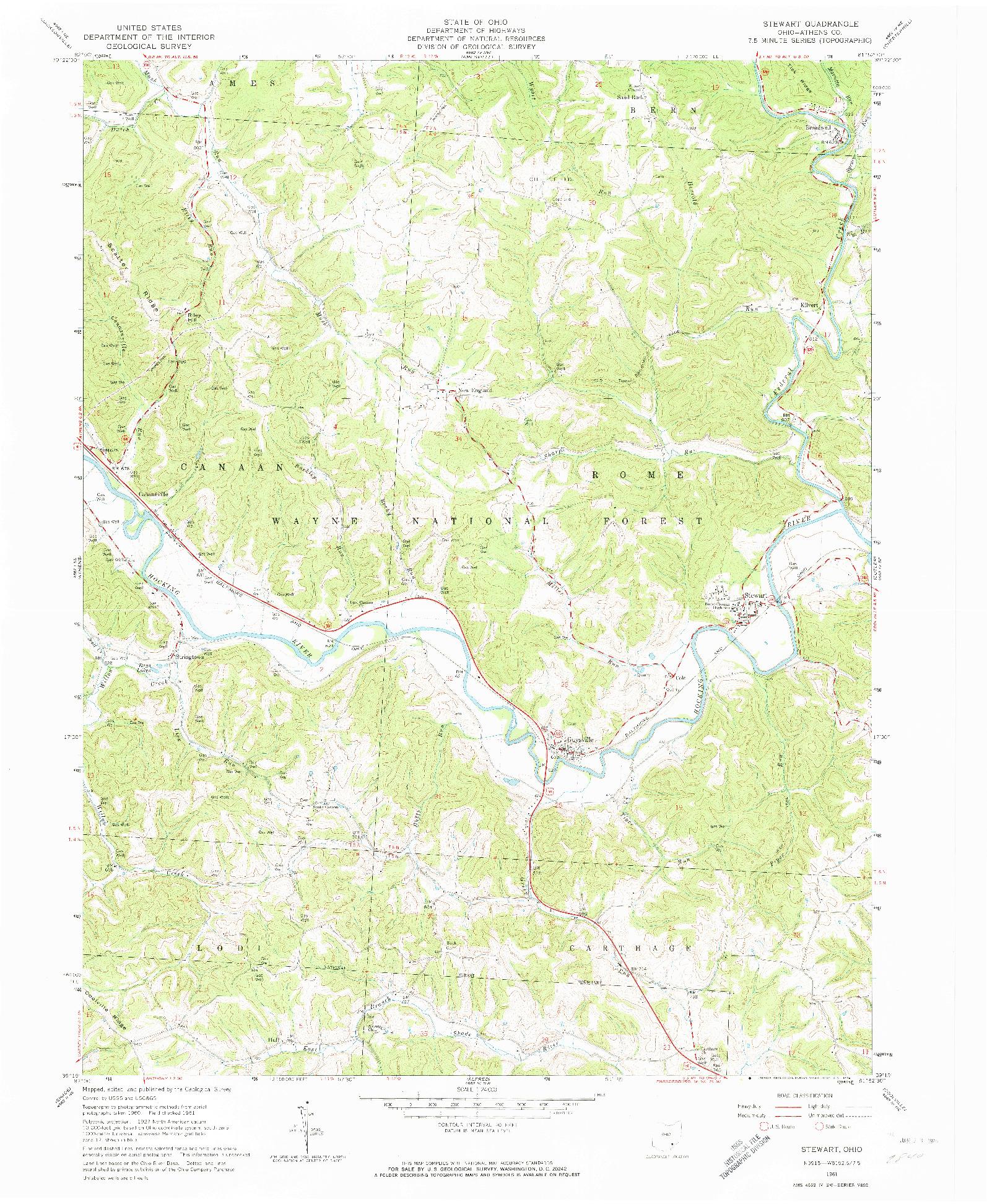USGS 1:24000-SCALE QUADRANGLE FOR STEWART, OH 1961