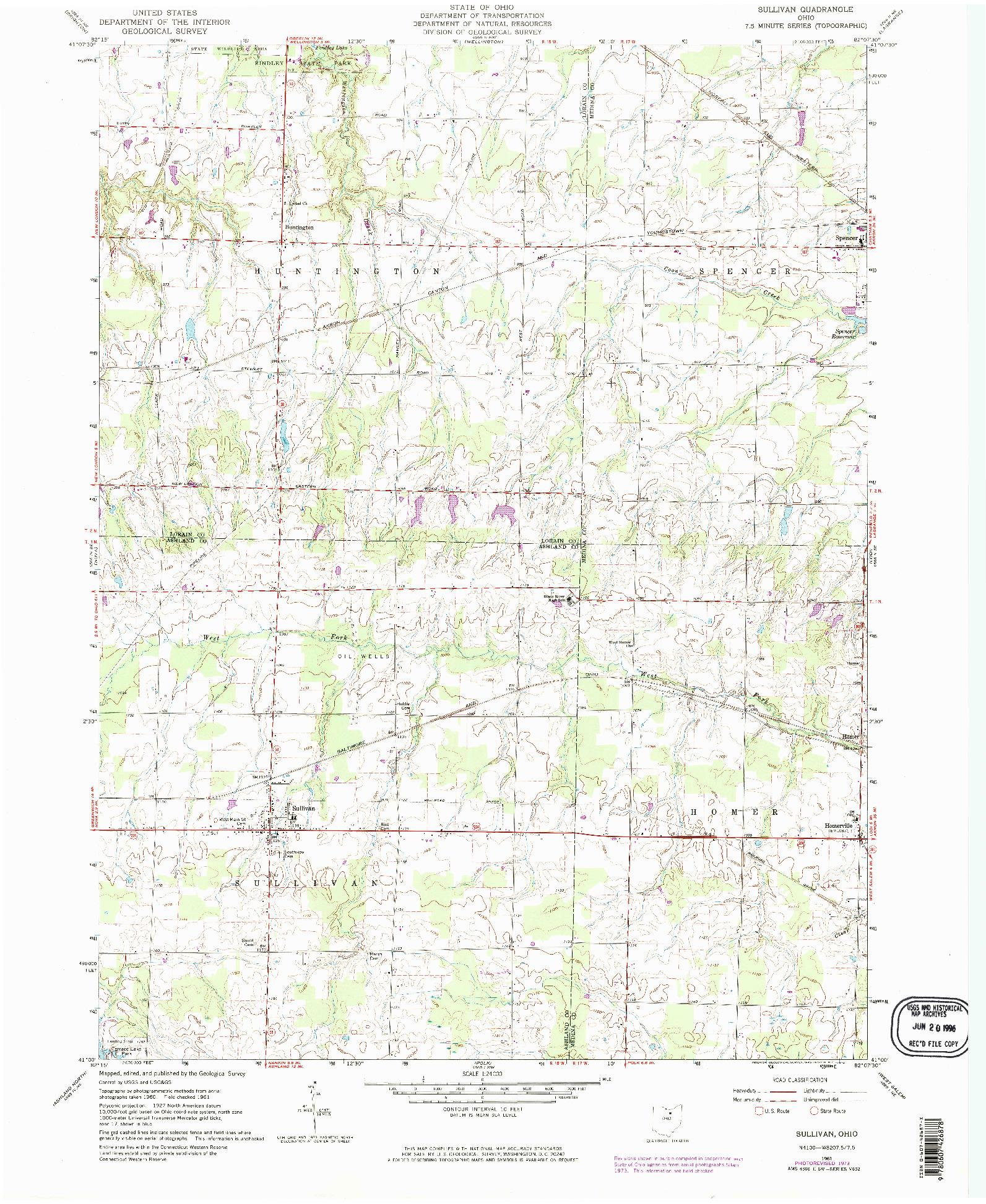USGS 1:24000-SCALE QUADRANGLE FOR SULLIVAN, OH 1961