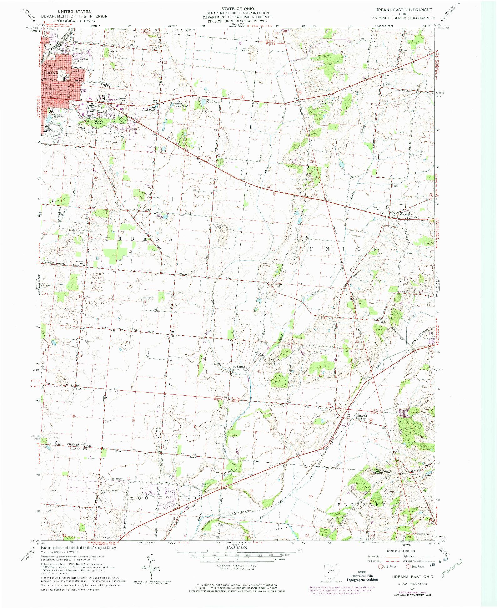 USGS 1:24000-SCALE QUADRANGLE FOR URBANA EAST, OH 1961