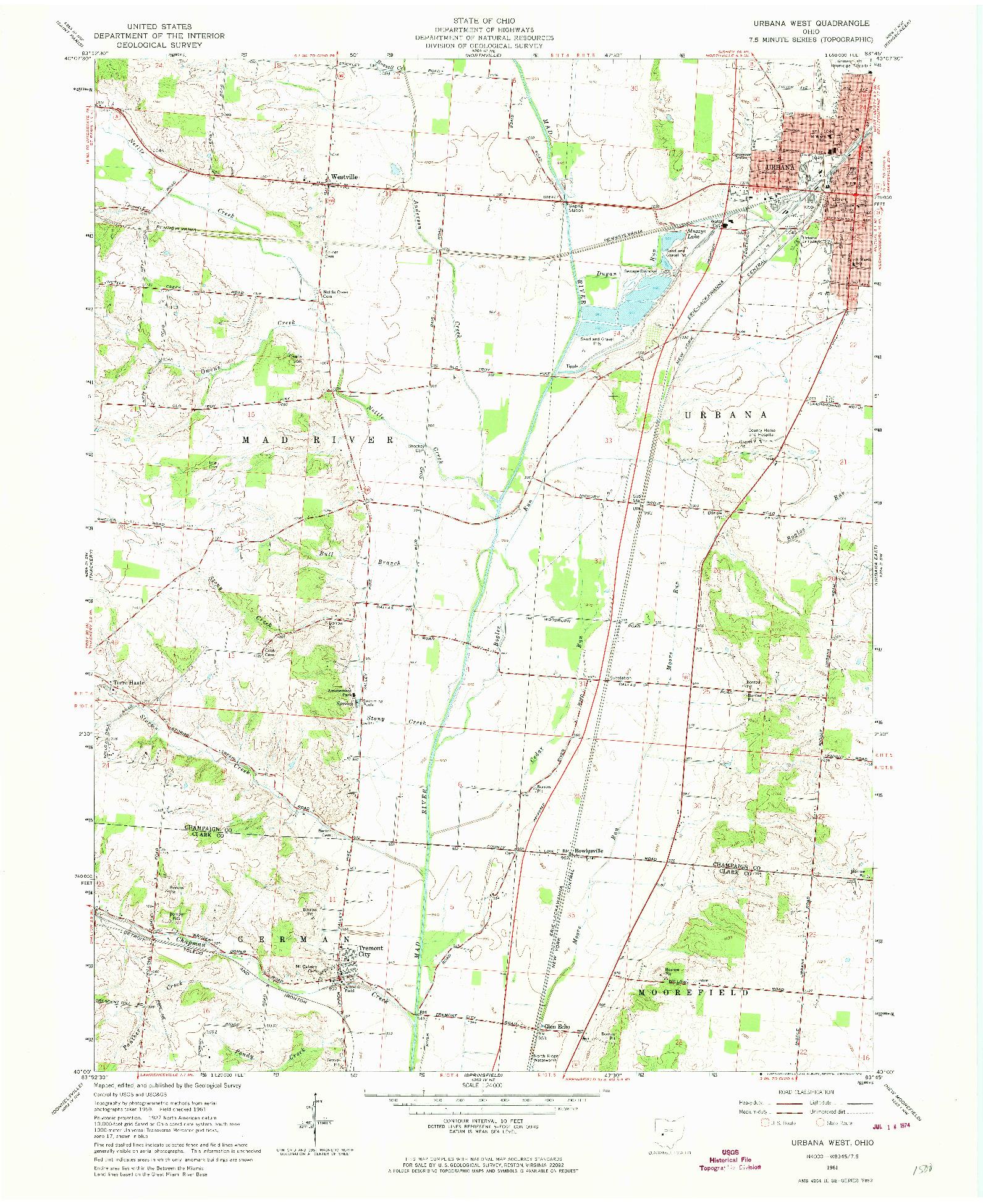 USGS 1:24000-SCALE QUADRANGLE FOR URBANA WEST, OH 1961