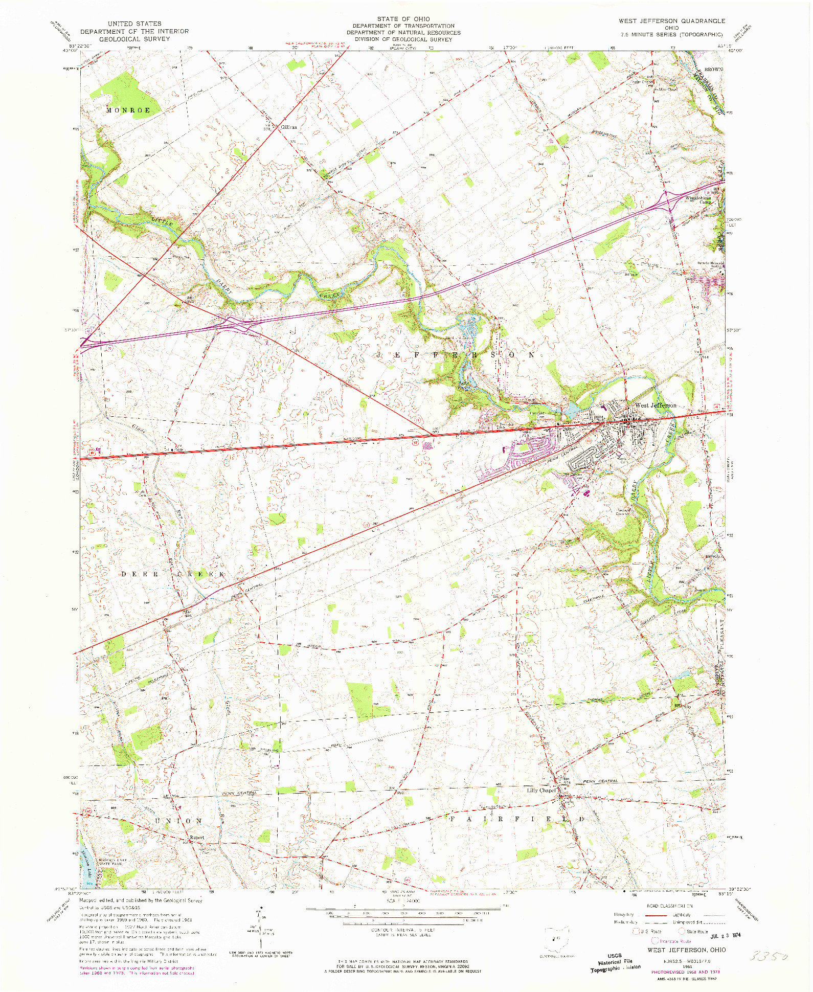 USGS 1:24000-SCALE QUADRANGLE FOR WEST JEFFERSON, OH 1961