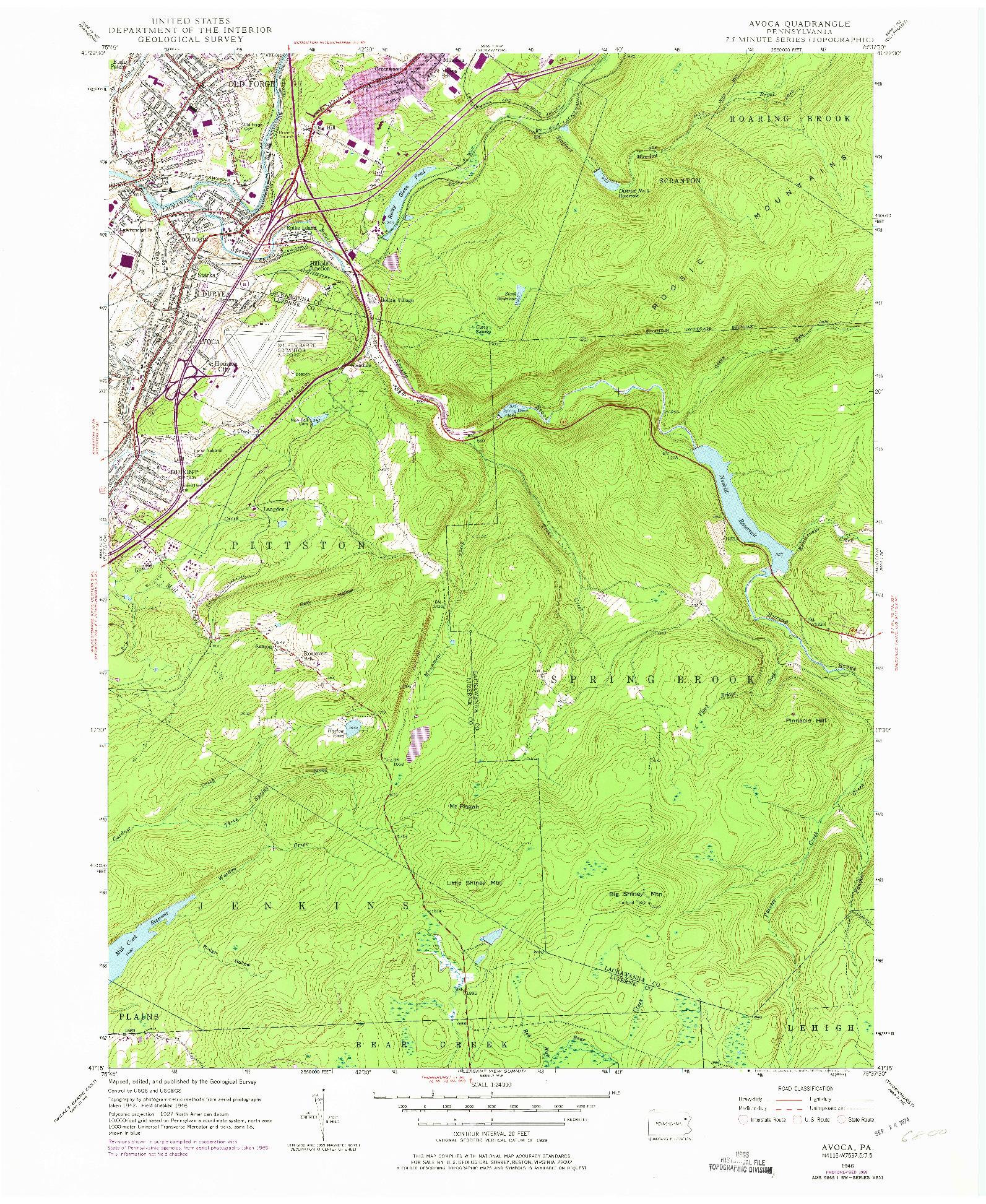 USGS 1:24000-SCALE QUADRANGLE FOR AVOCA, PA 1946