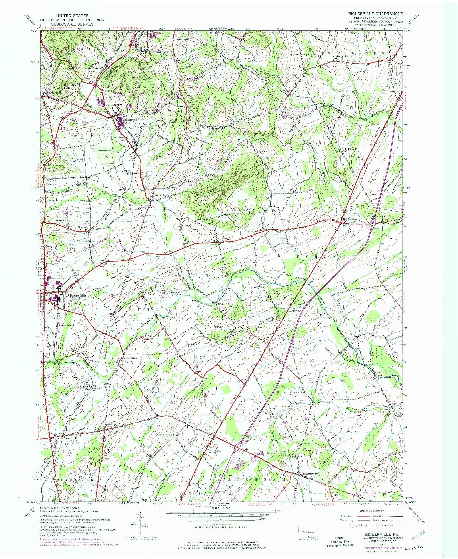 USGS 1:24000-SCALE QUADRANGLE FOR BIGLERVILLE, PA 1944