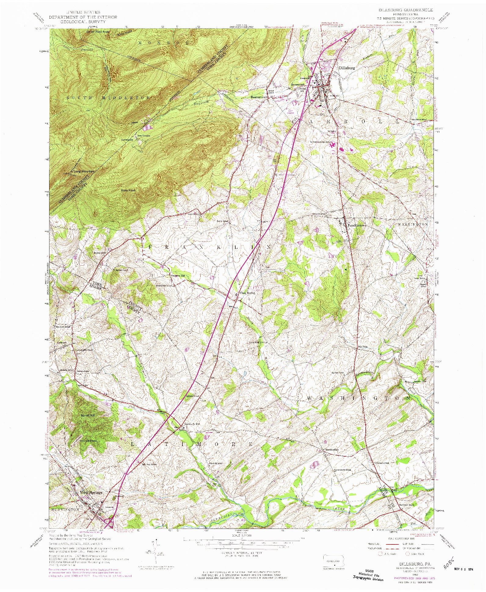 USGS 1:24000-SCALE QUADRANGLE FOR DILLSBURG, PA 1952