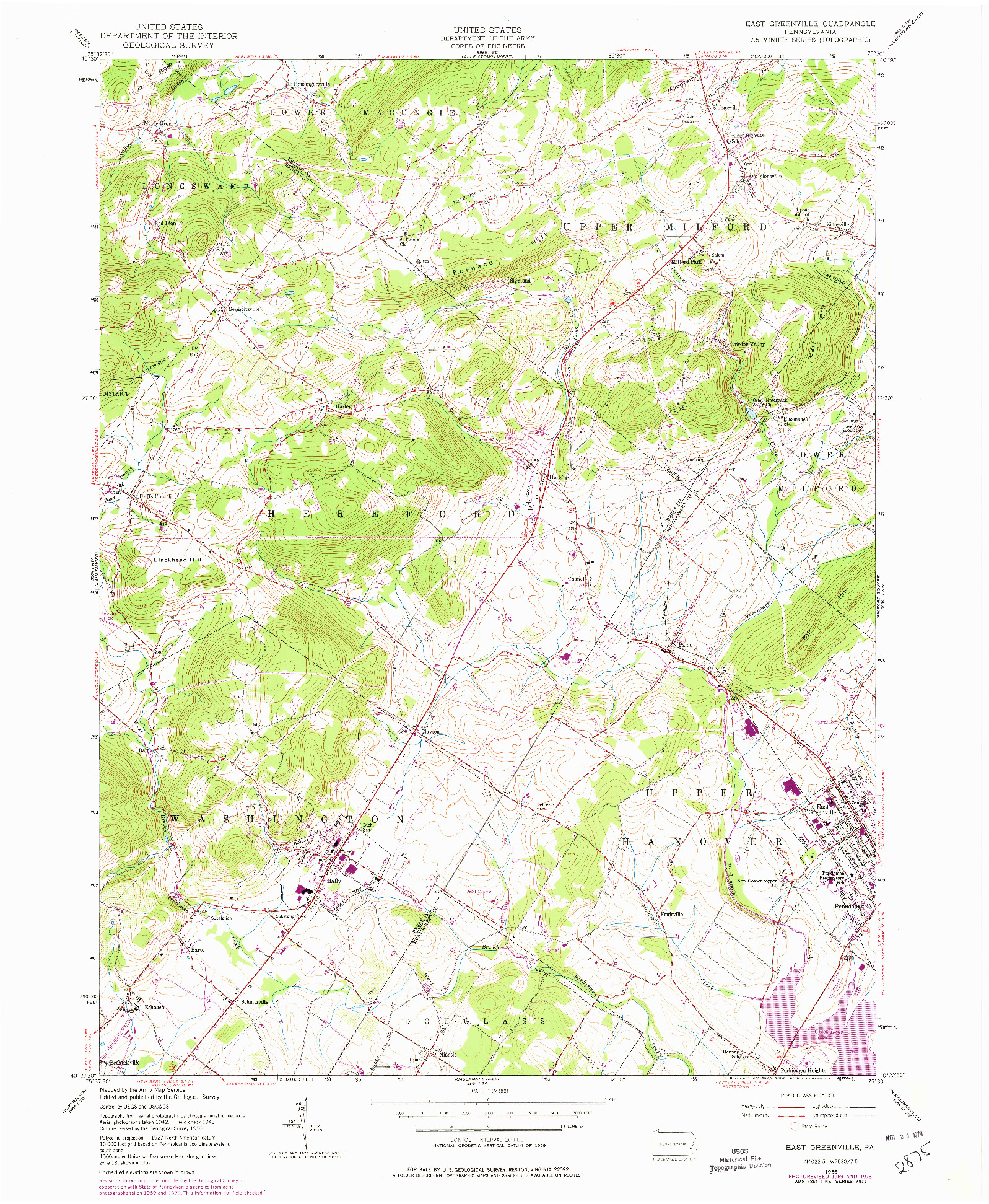 USGS 1:24000-SCALE QUADRANGLE FOR EAST GREENVILLE, PA 1956