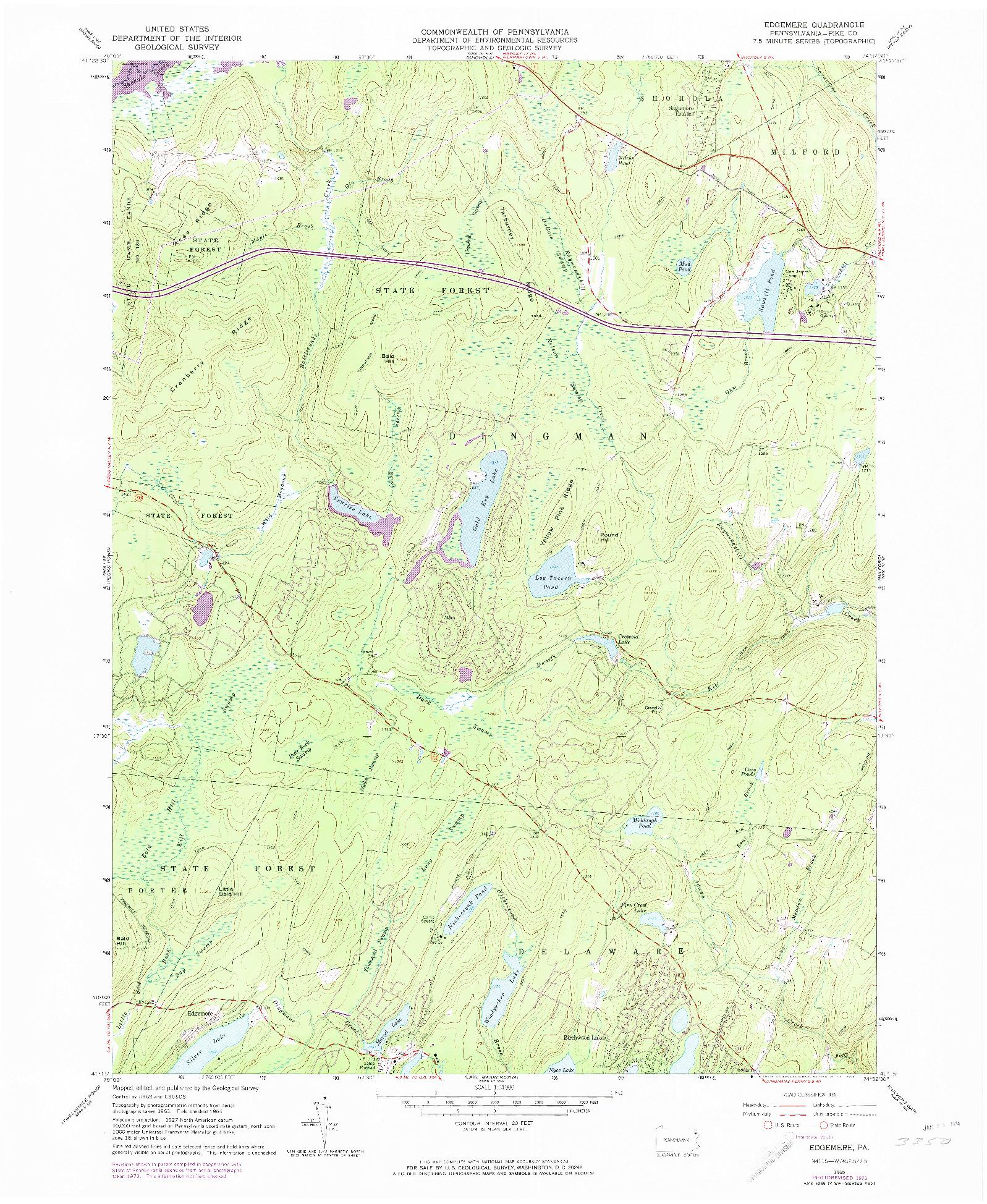 USGS 1:24000-SCALE QUADRANGLE FOR EDGEMERE, PA 1965