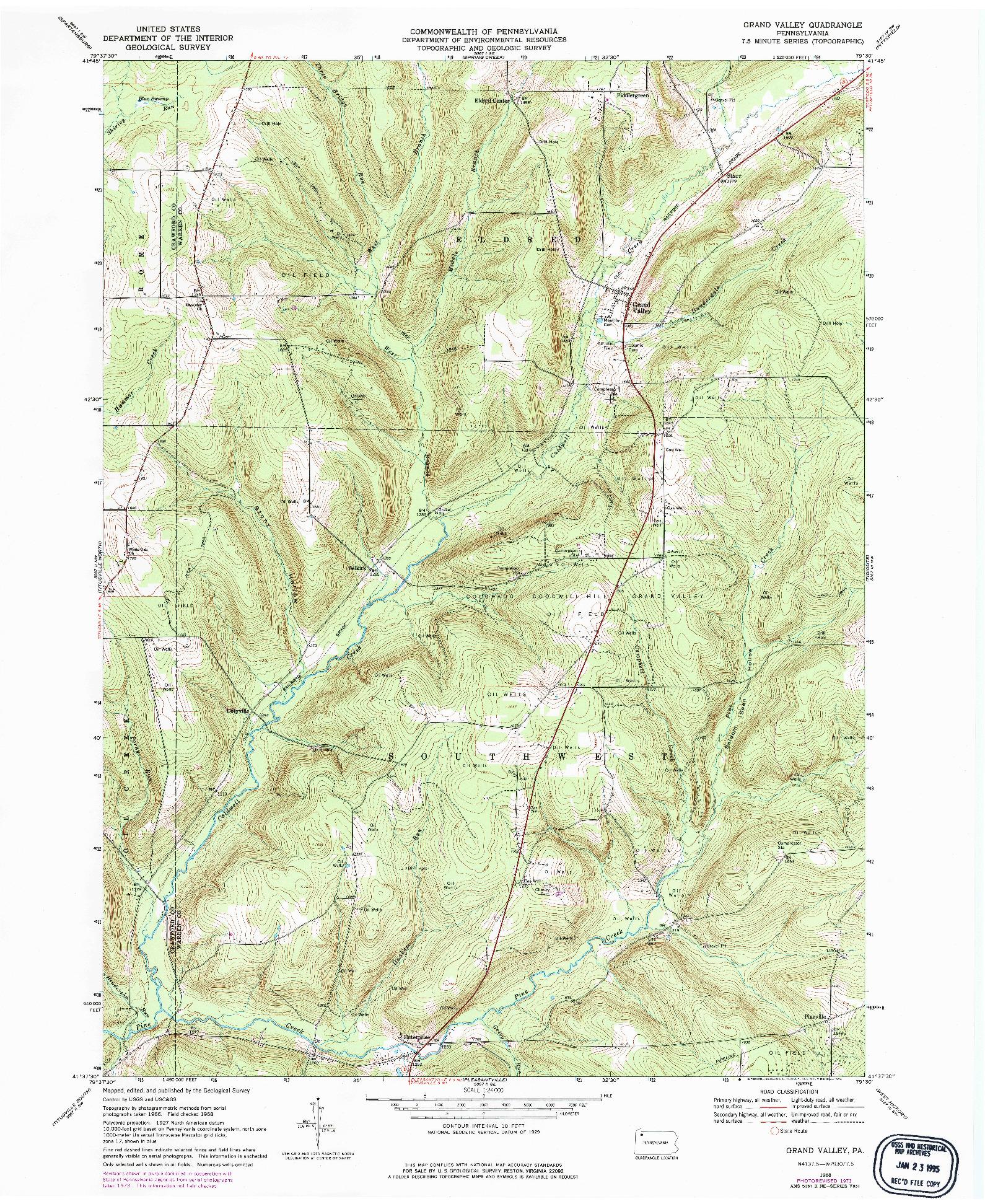 USGS 1:24000-SCALE QUADRANGLE FOR GRAND VALLEY, PA 1968