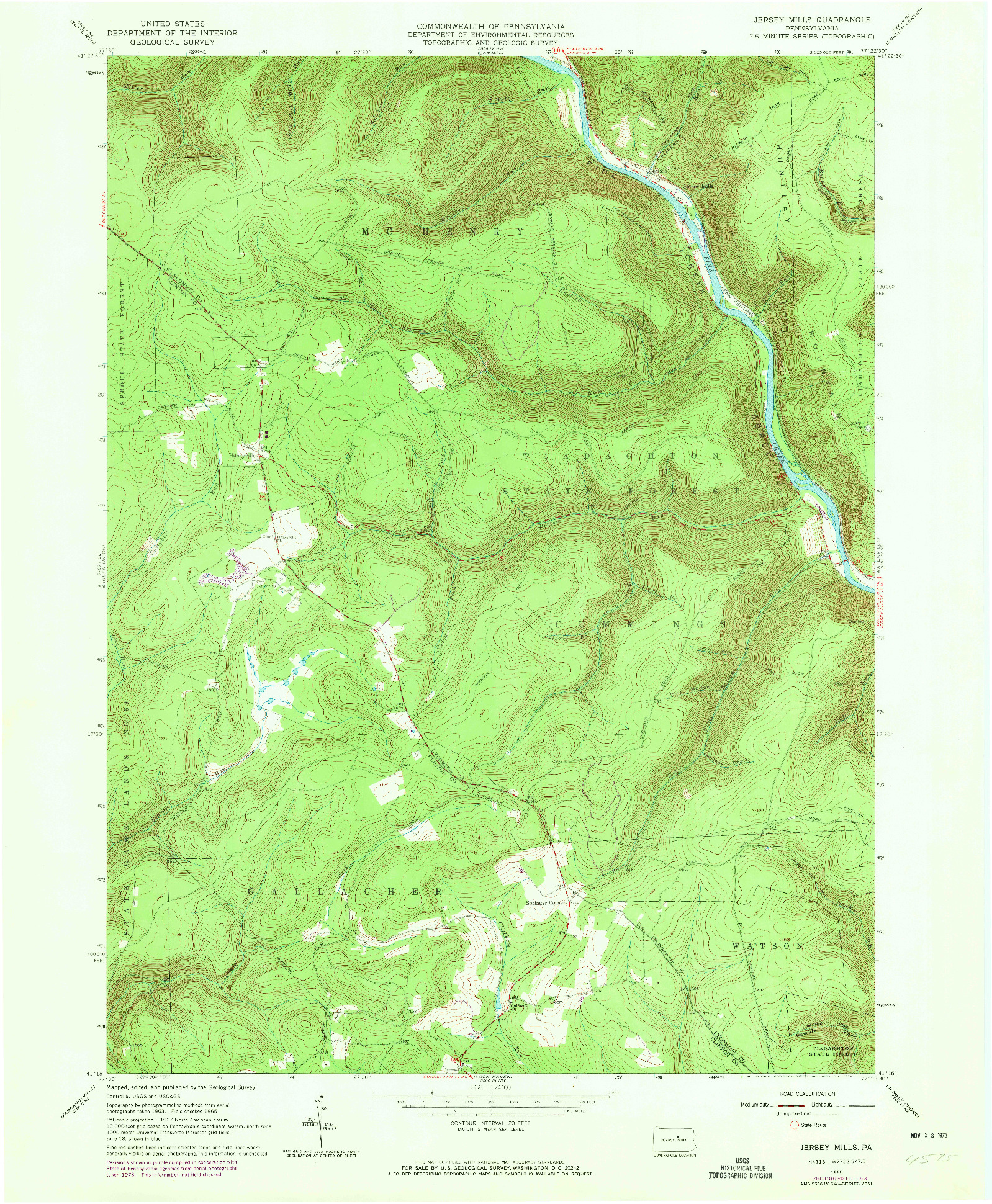 USGS 1:24000-SCALE QUADRANGLE FOR JERSEY MILLS, PA 1965