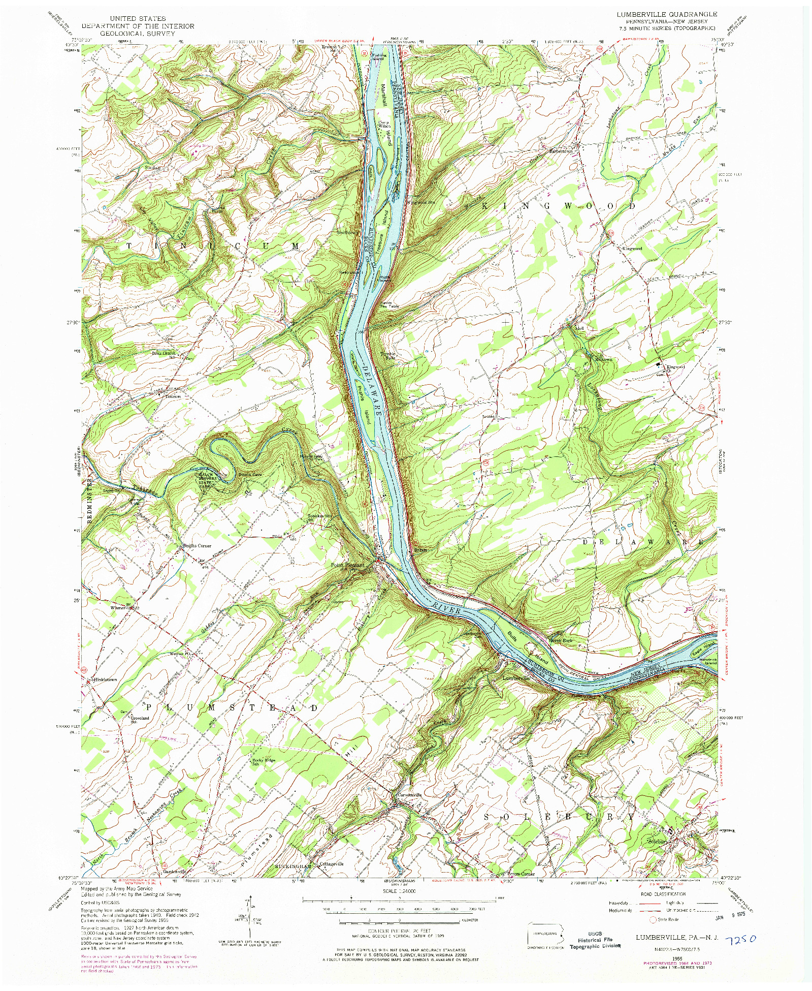 USGS 1:24000-SCALE QUADRANGLE FOR LUMBERVILLE, PA 1955