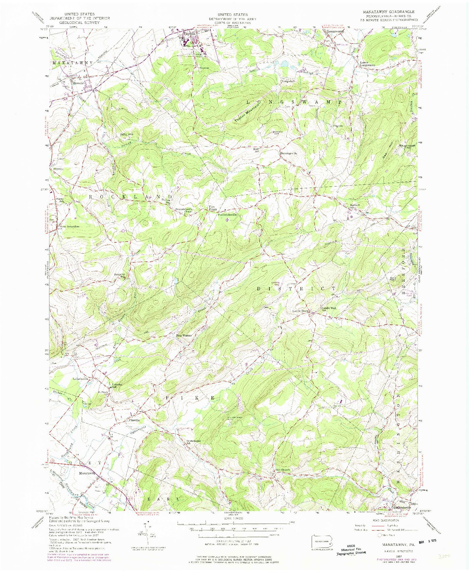 USGS 1:24000-SCALE QUADRANGLE FOR MANATAWNY, PA 1957
