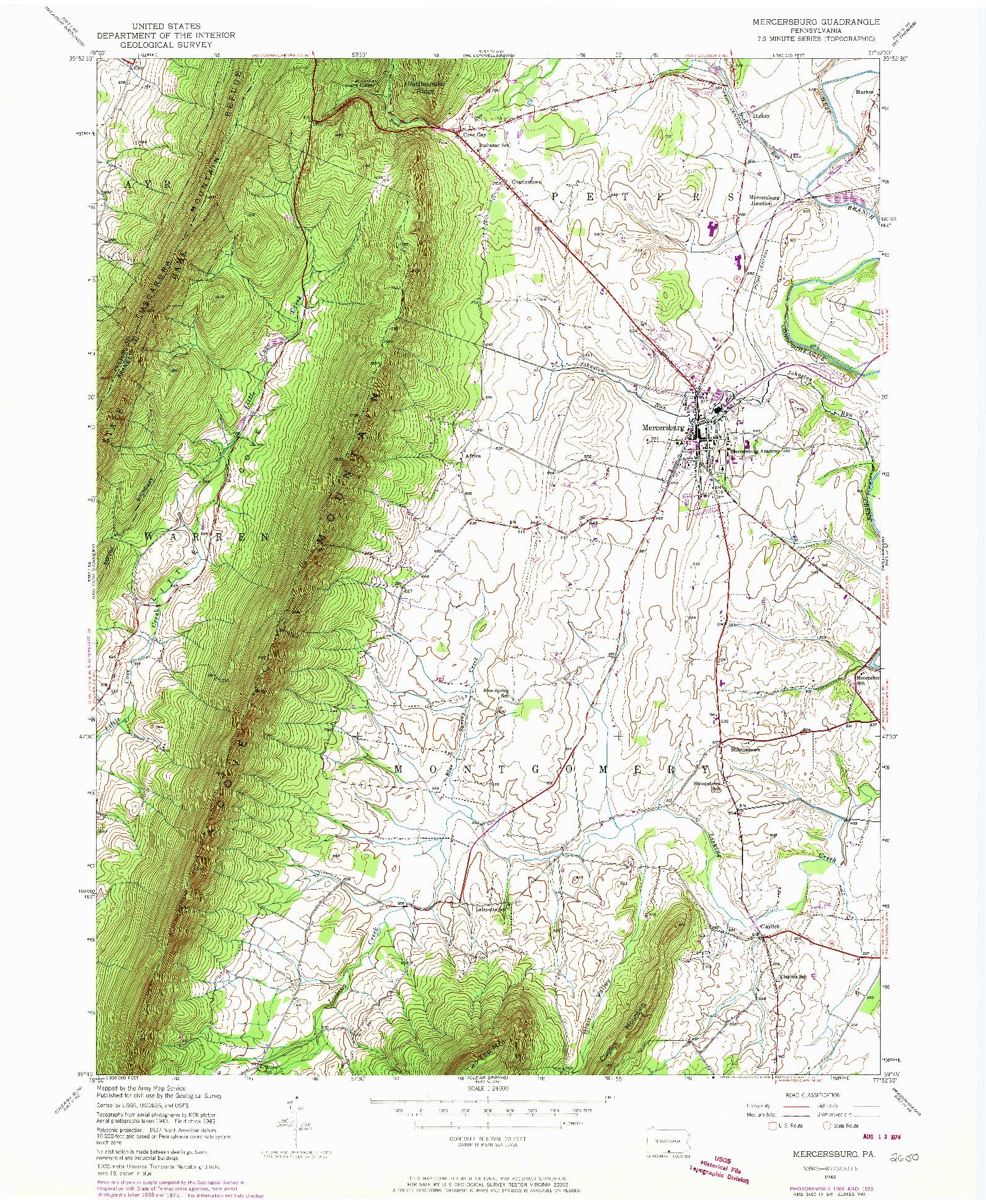 USGS 1:24000-SCALE QUADRANGLE FOR MERCERSBURG, PA 1943