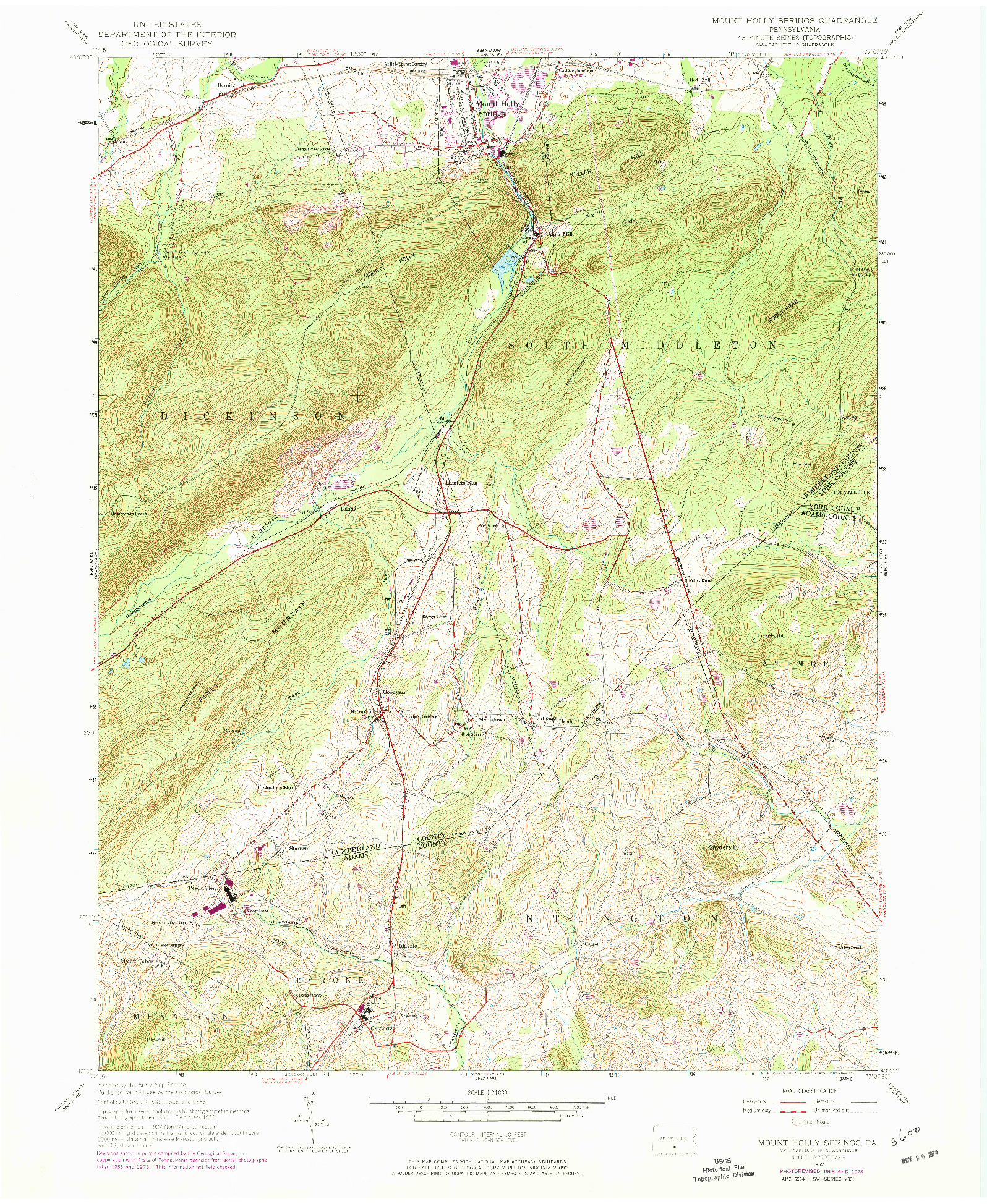 USGS 1:24000-SCALE QUADRANGLE FOR MOUNT HOLLY SPRINGS, PA 1952