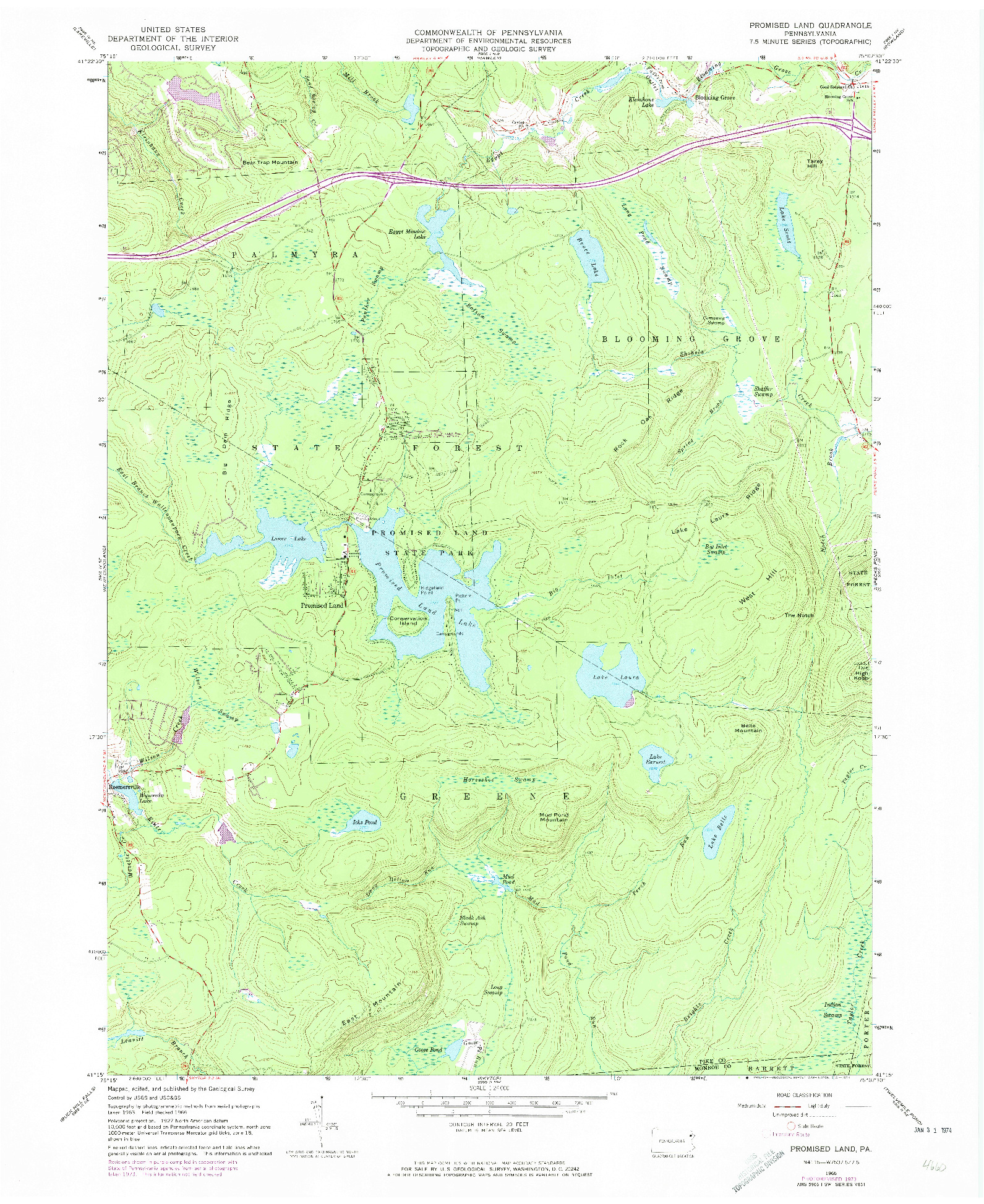 USGS 1:24000-SCALE QUADRANGLE FOR PROMISED LAND, PA 1966