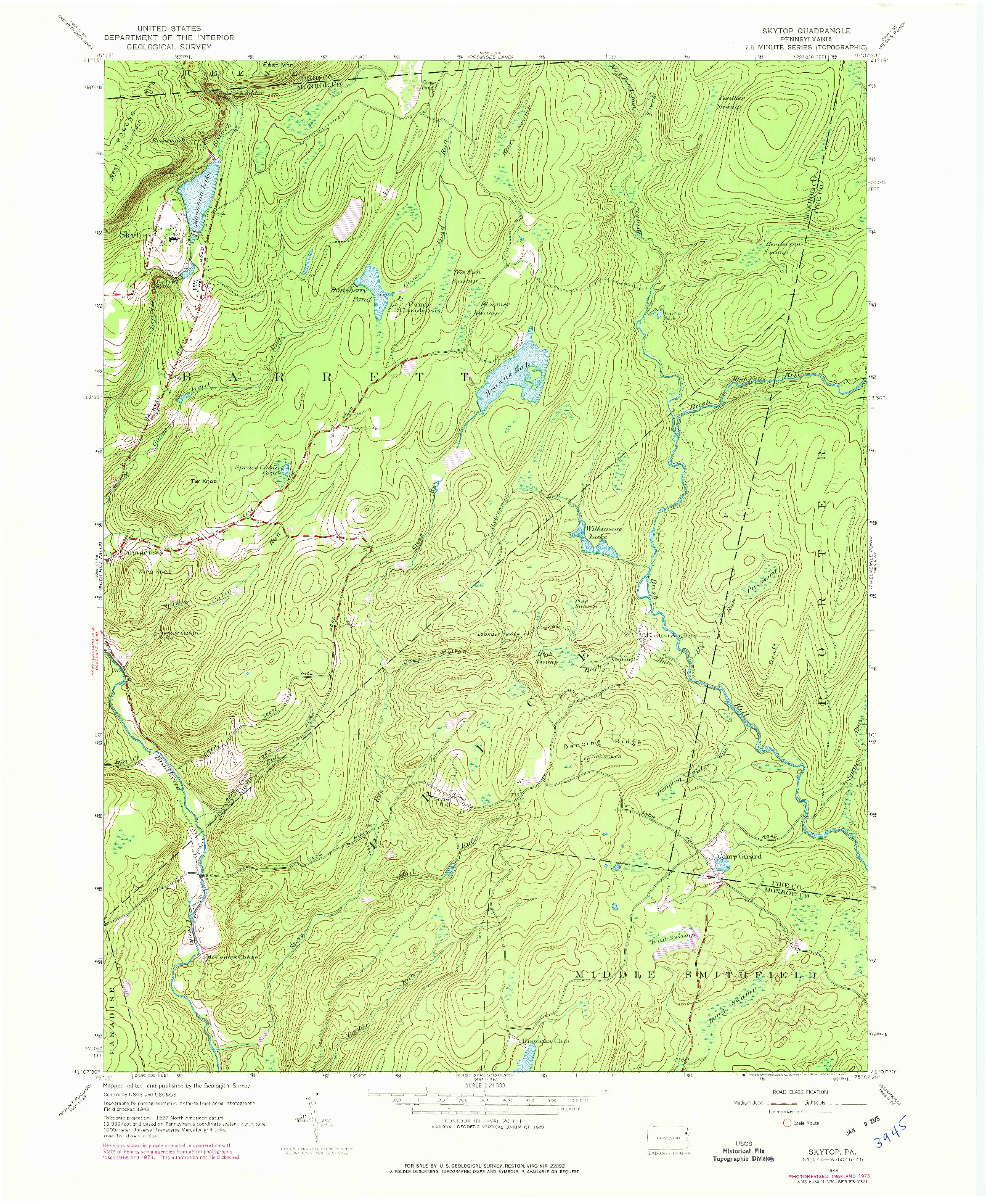 USGS 1:24000-SCALE QUADRANGLE FOR SKYTOP, PA 1943
