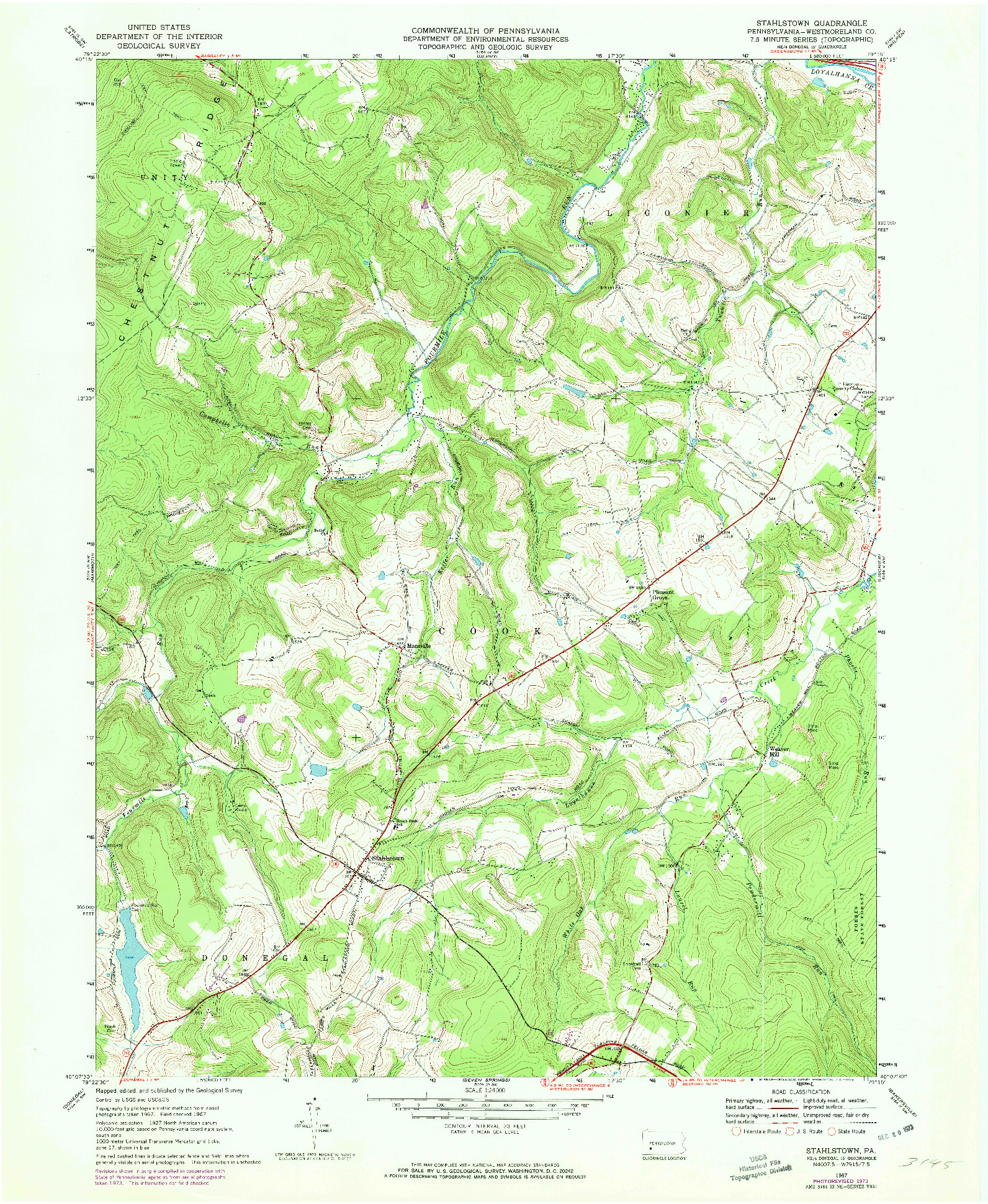 USGS 1:24000-SCALE QUADRANGLE FOR STAHLSTOWN, PA 1967