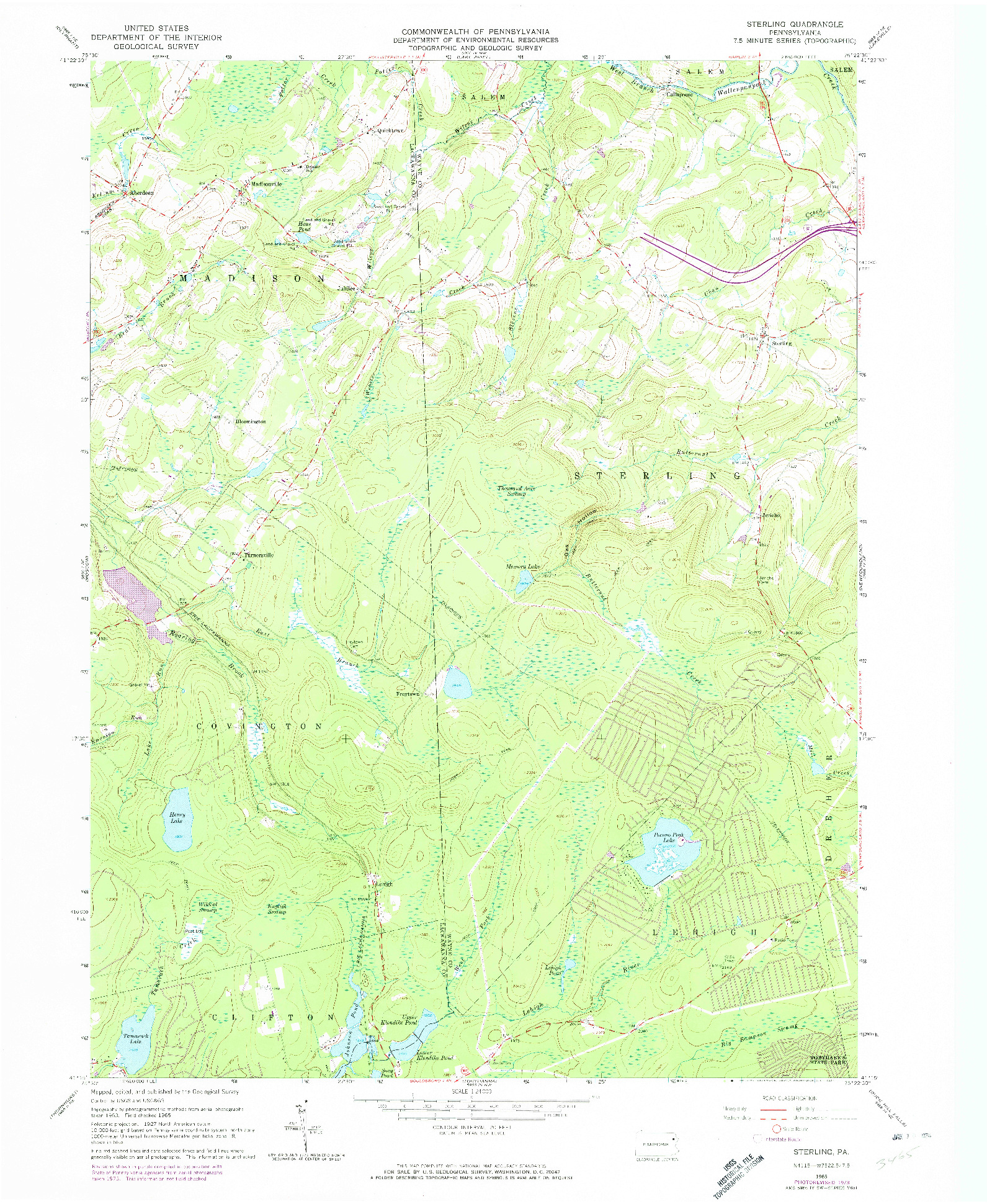 USGS 1:24000-SCALE QUADRANGLE FOR STERLING, PA 1965