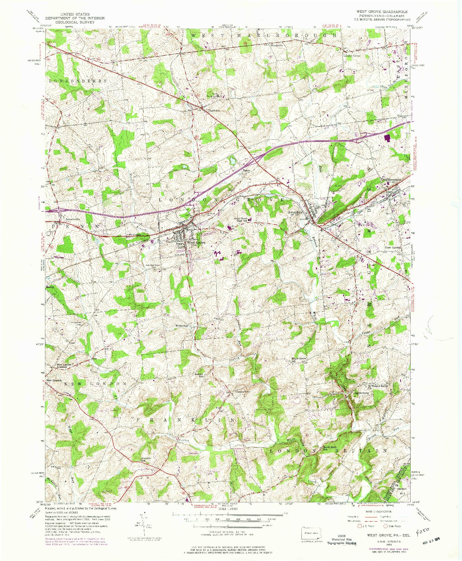USGS 1:24000-SCALE QUADRANGLE FOR WEST GROVE, PA 1953