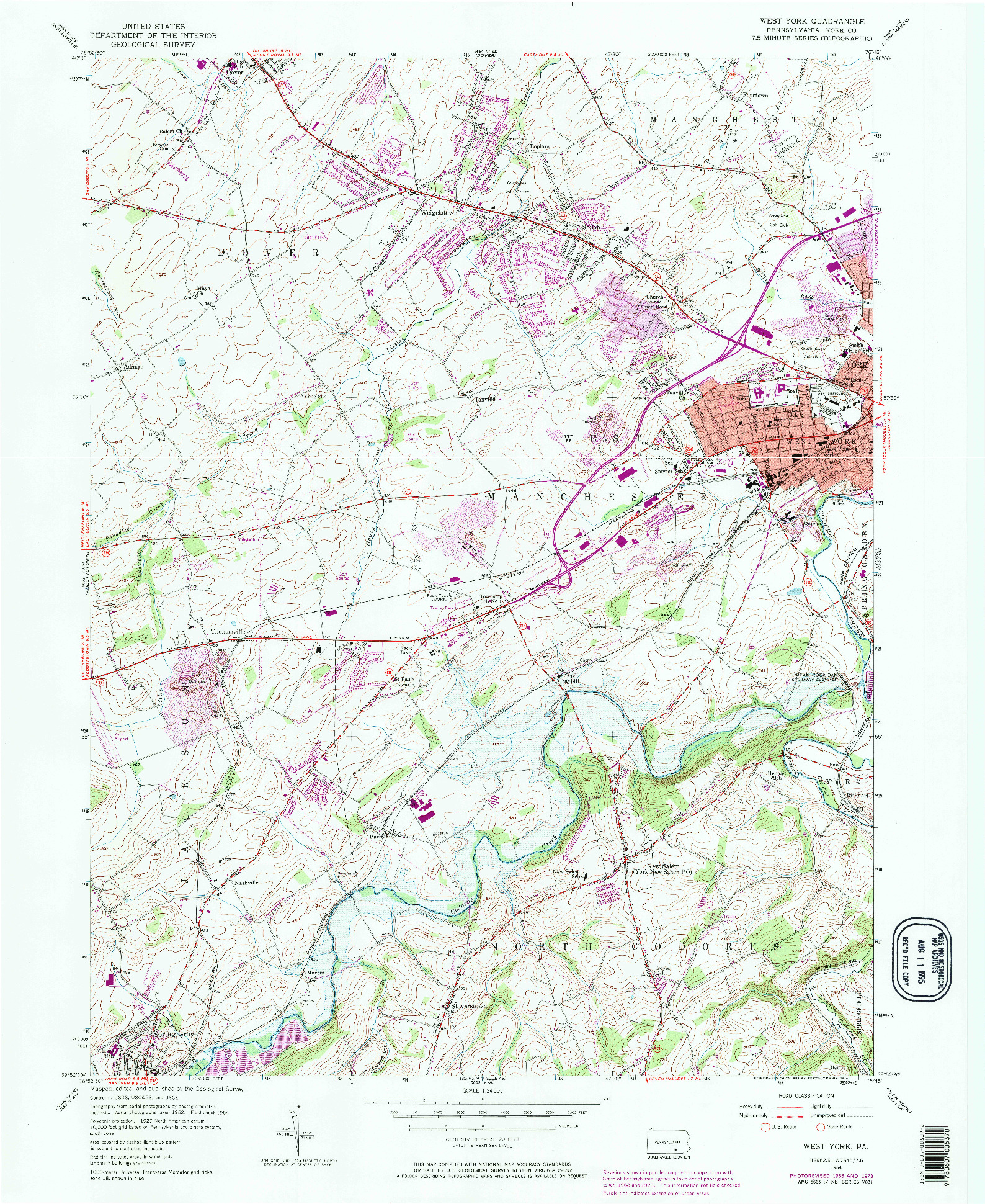 USGS 1:24000-SCALE QUADRANGLE FOR WEST YORK, PA 1954