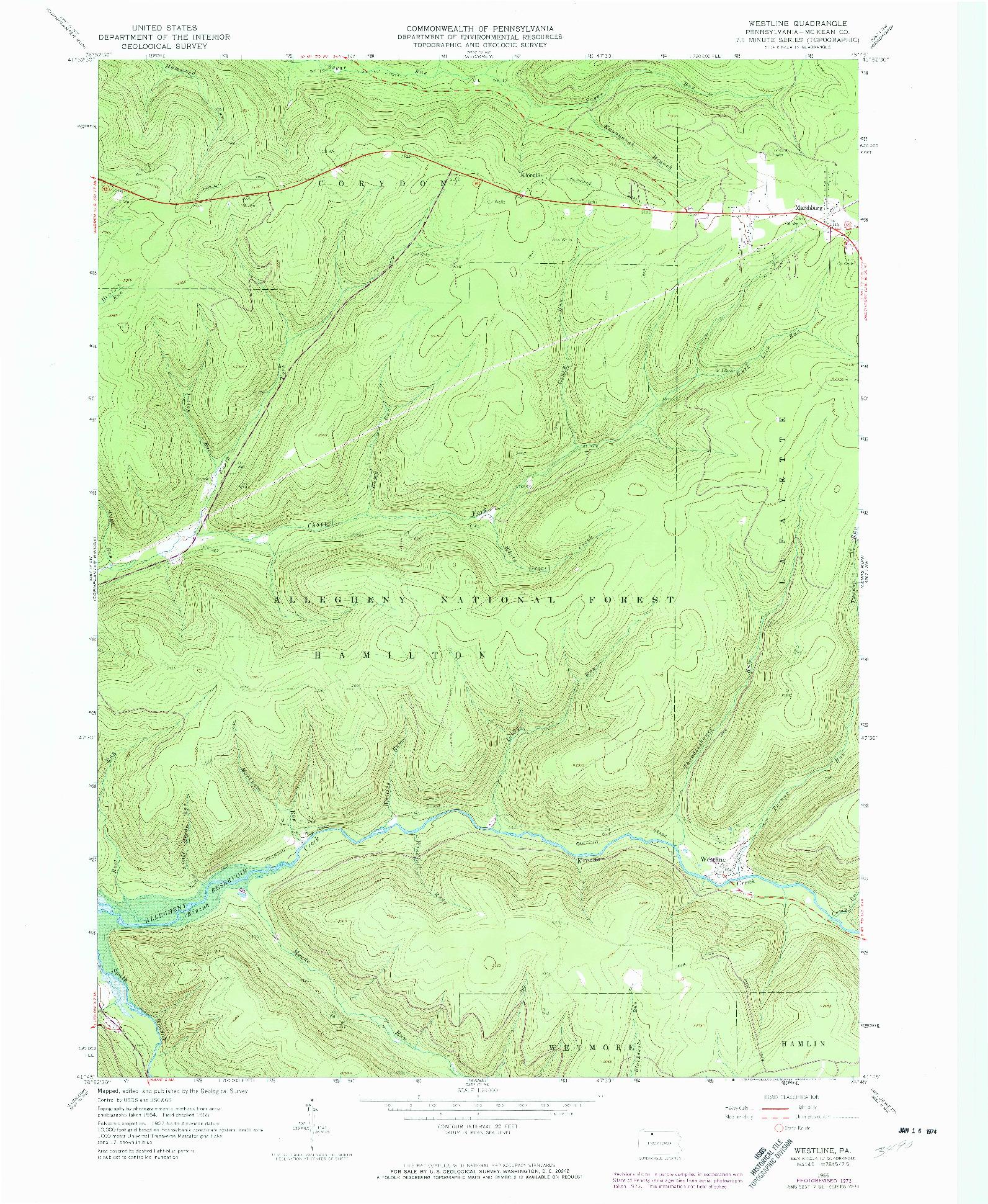 USGS 1:24000-SCALE QUADRANGLE FOR WESTLINE, PA 1966