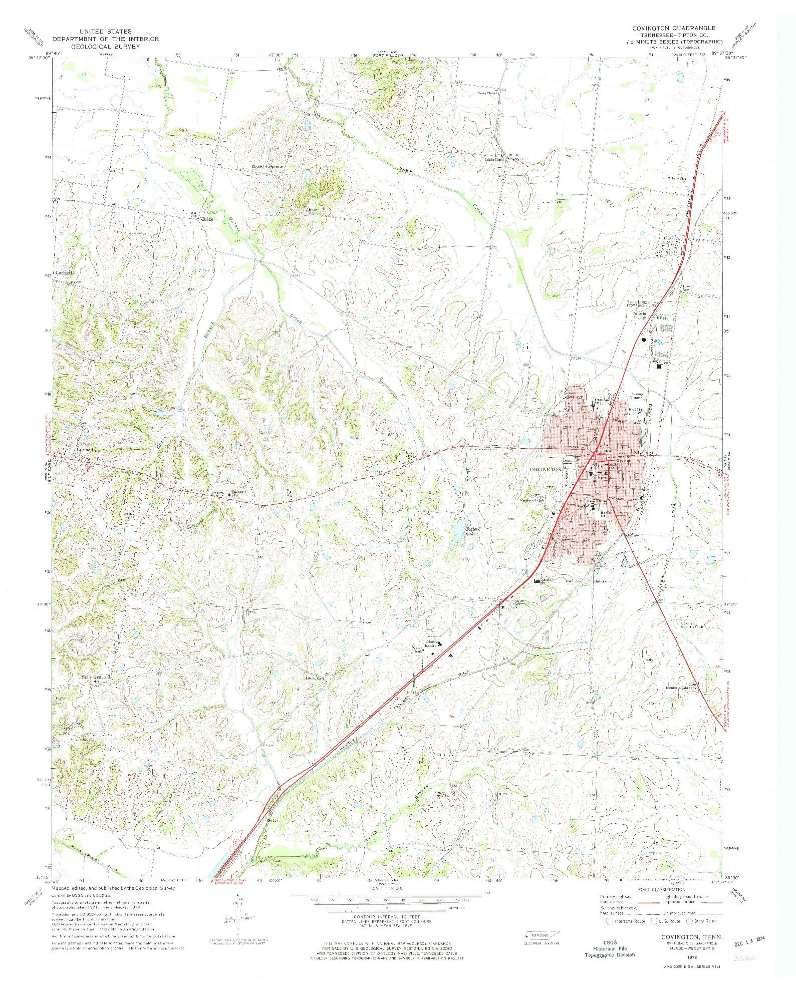 USGS 1:24000-SCALE QUADRANGLE FOR COVINGTON, TN 1972