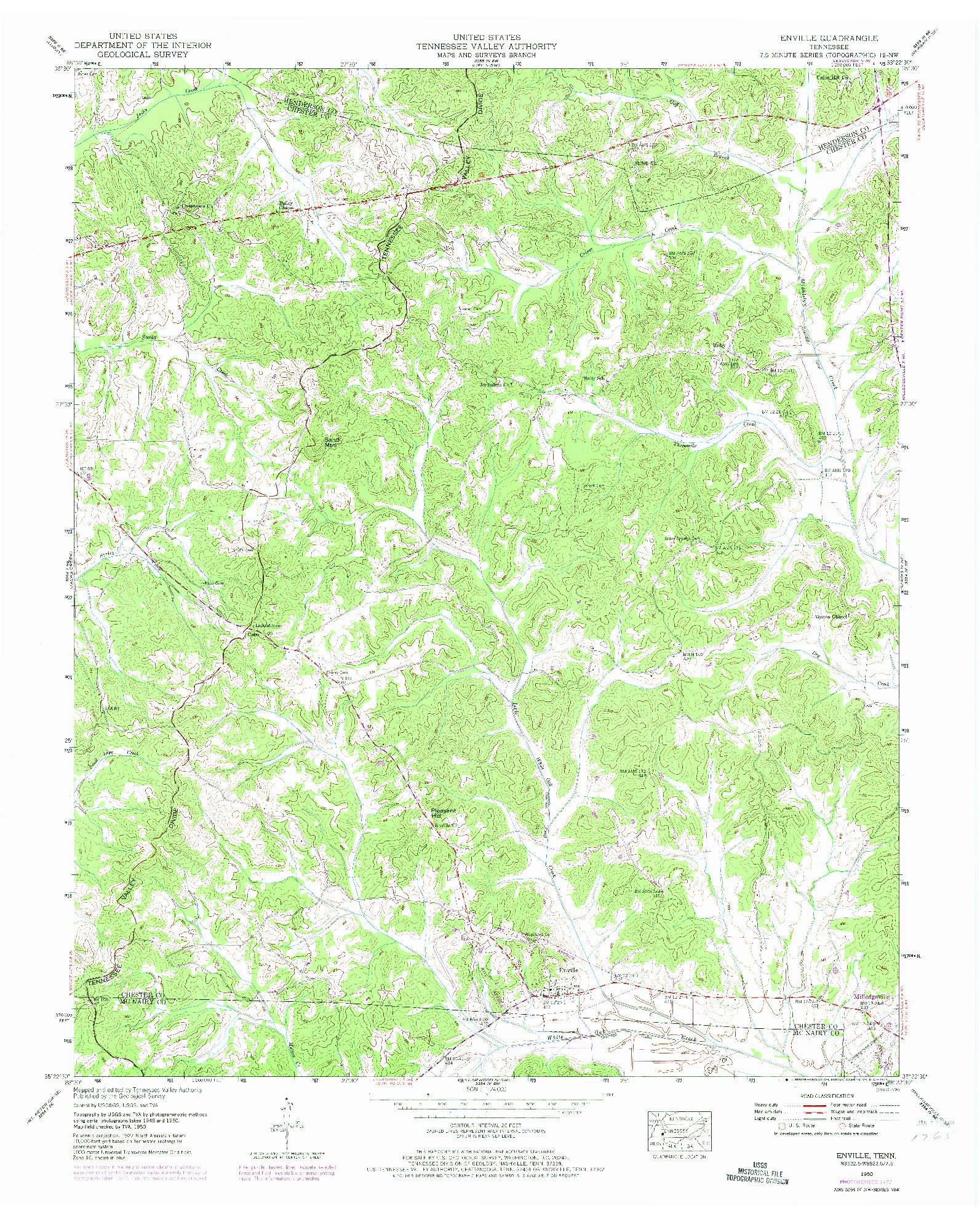 USGS 1:24000-SCALE QUADRANGLE FOR ENVILLE, TN 1950