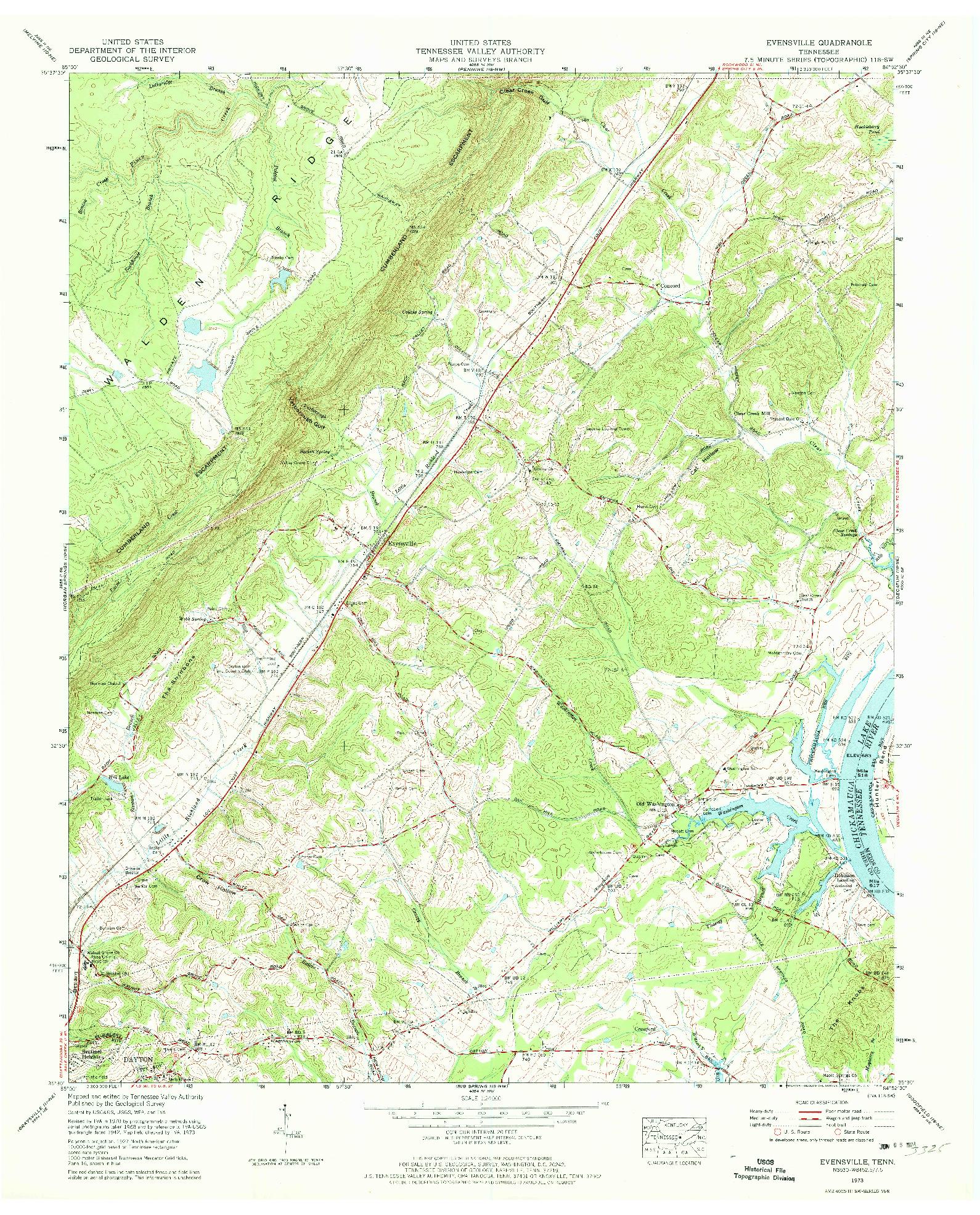 USGS 1:24000-SCALE QUADRANGLE FOR EVENSVILLE, TN 1973