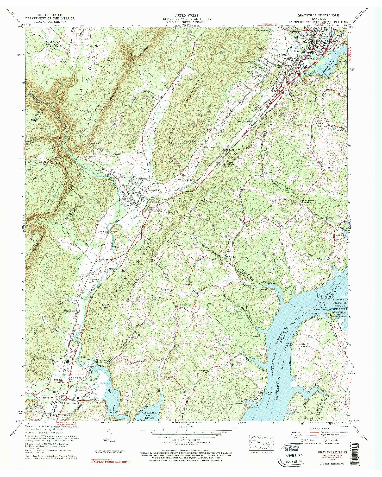 USGS 1:24000-SCALE QUADRANGLE FOR GRAYSVILLE, TN 1972