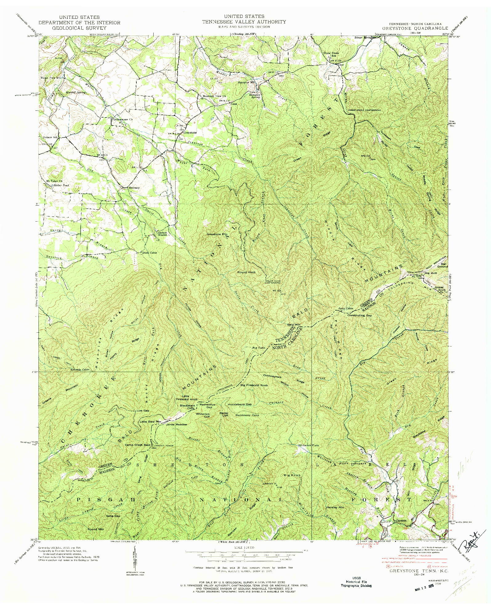 USGS 1:24000-SCALE QUADRANGLE FOR GREYSTONE, TN 1939