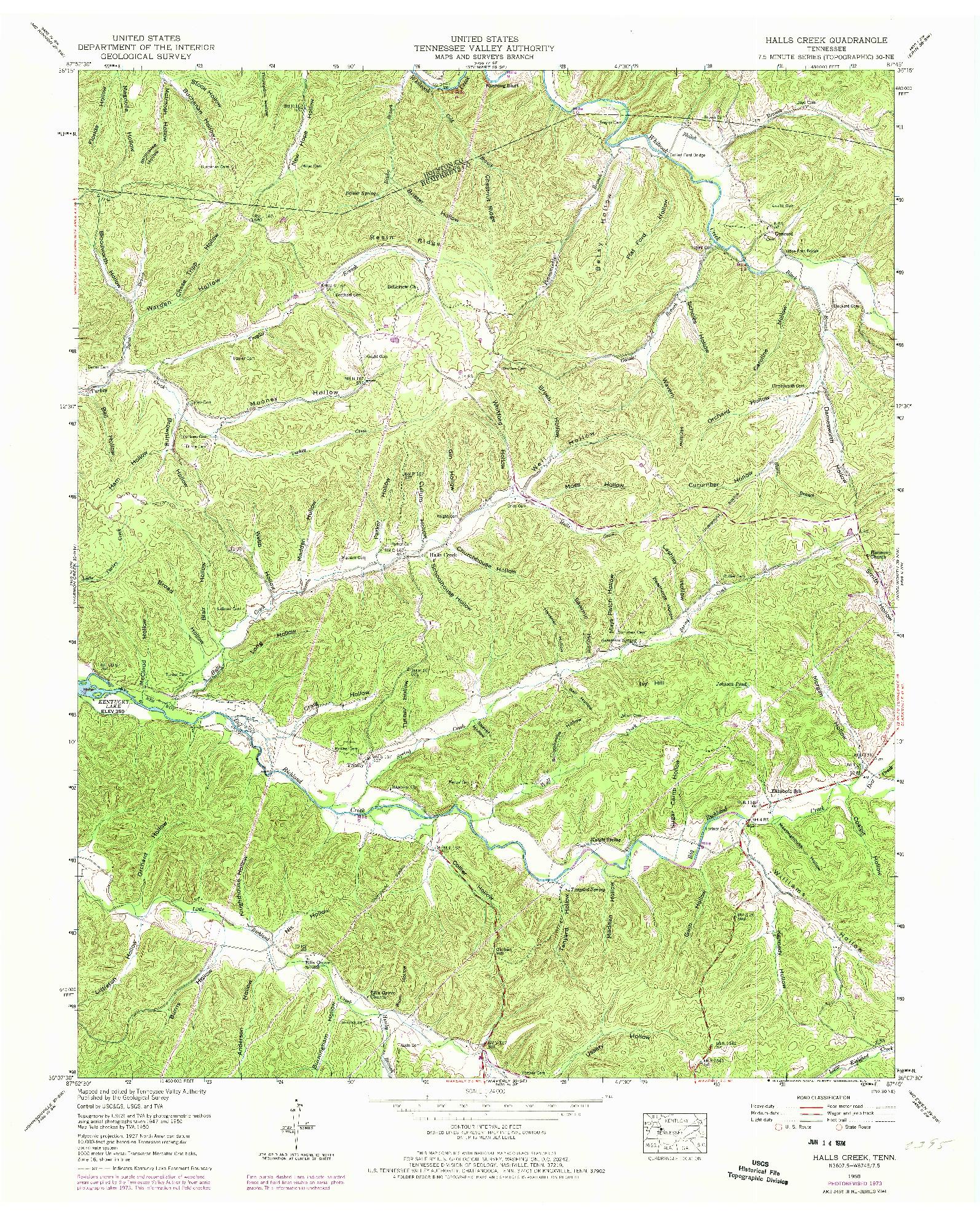 USGS 1:24000-SCALE QUADRANGLE FOR HALLS CREEK, TN 1950