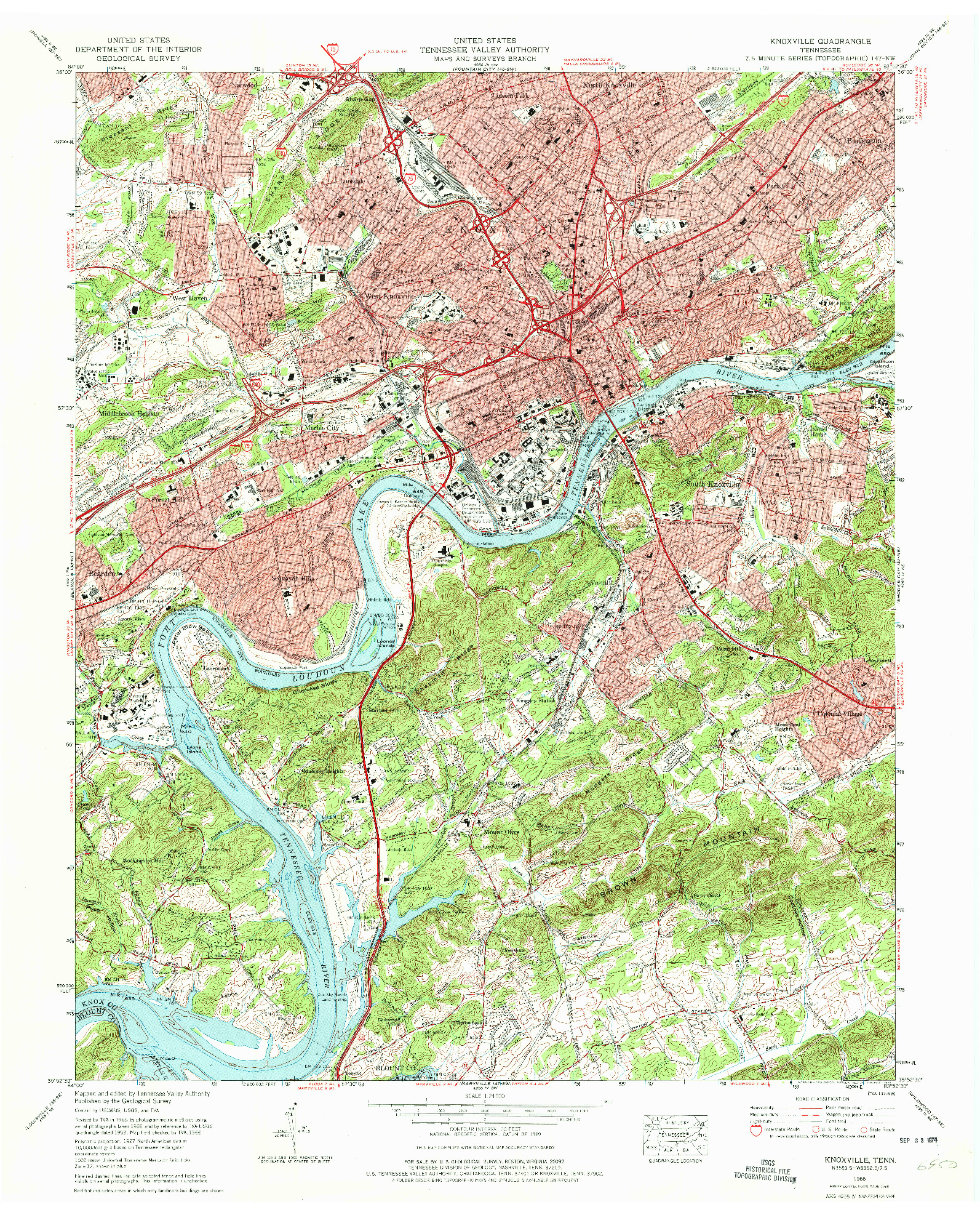 USGS 1:24000-SCALE QUADRANGLE FOR KNOXVILLE, TN 1966