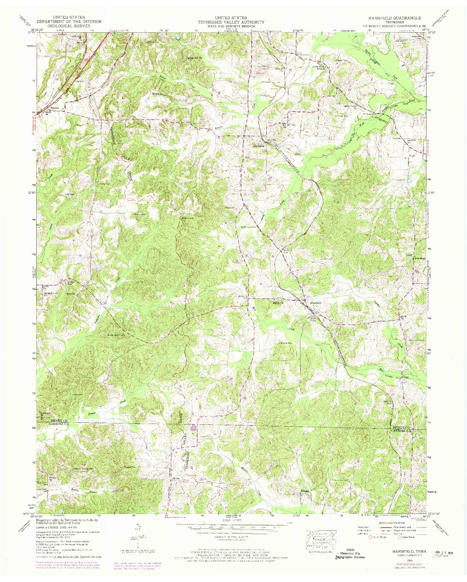 USGS 1:24000-SCALE QUADRANGLE FOR MANSFIELD, TN 1950