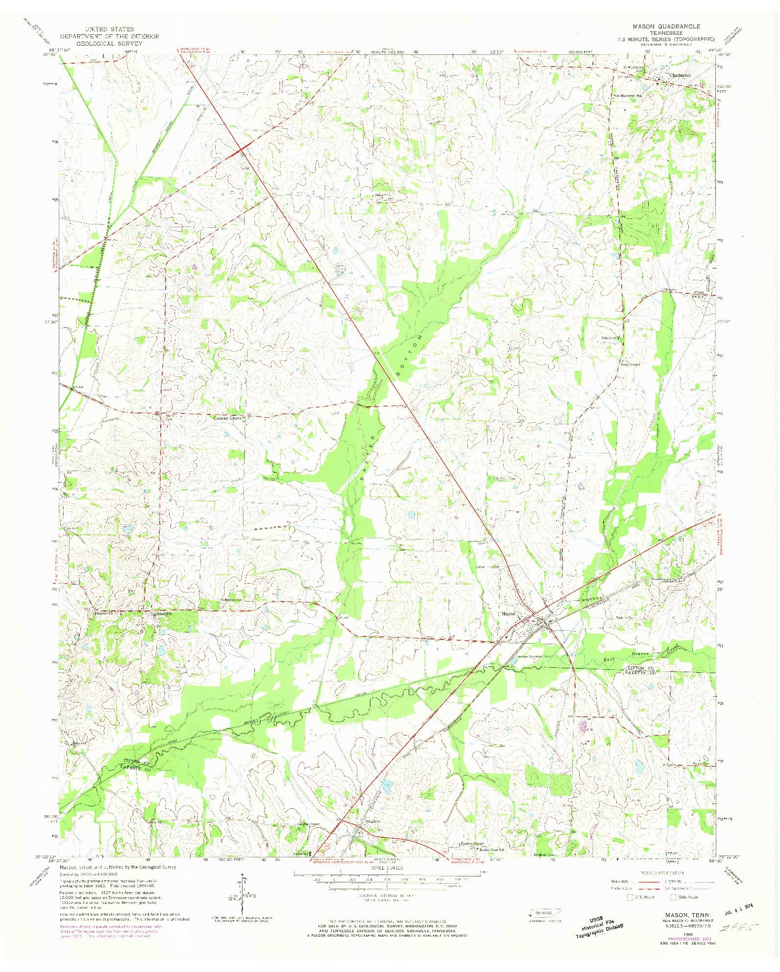 USGS 1:24000-SCALE QUADRANGLE FOR MASON, TN 1965