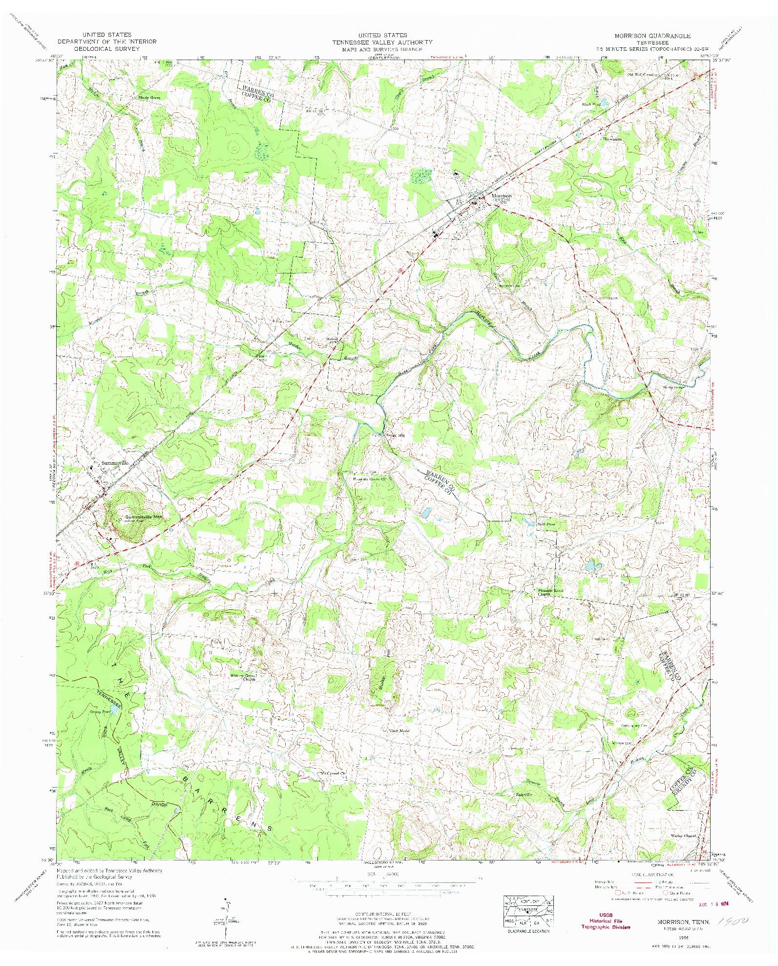 USGS 1:24000-SCALE QUADRANGLE FOR MORRISON, TN 1956
