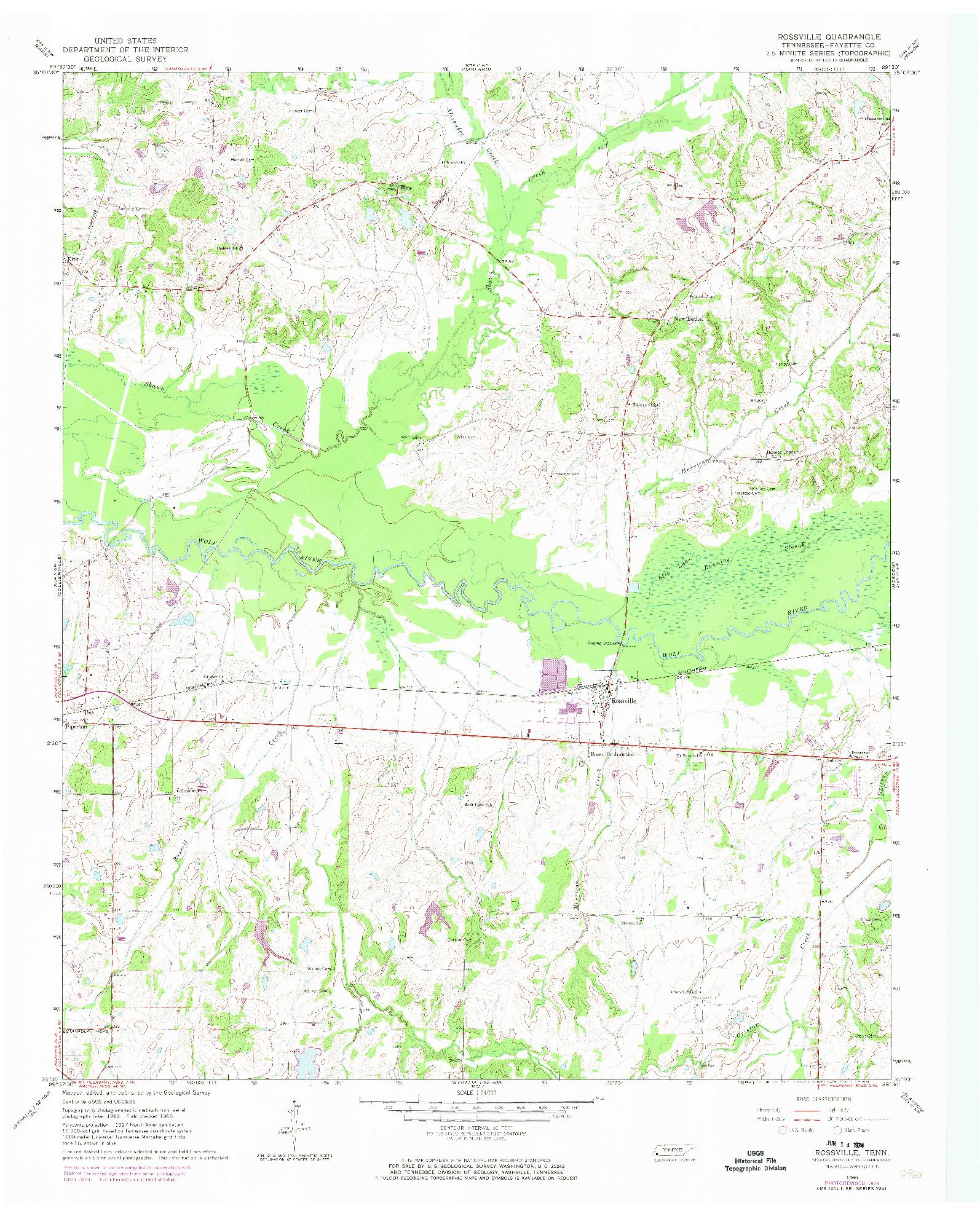 USGS 1:24000-SCALE QUADRANGLE FOR ROSSVILLE, TN 1965
