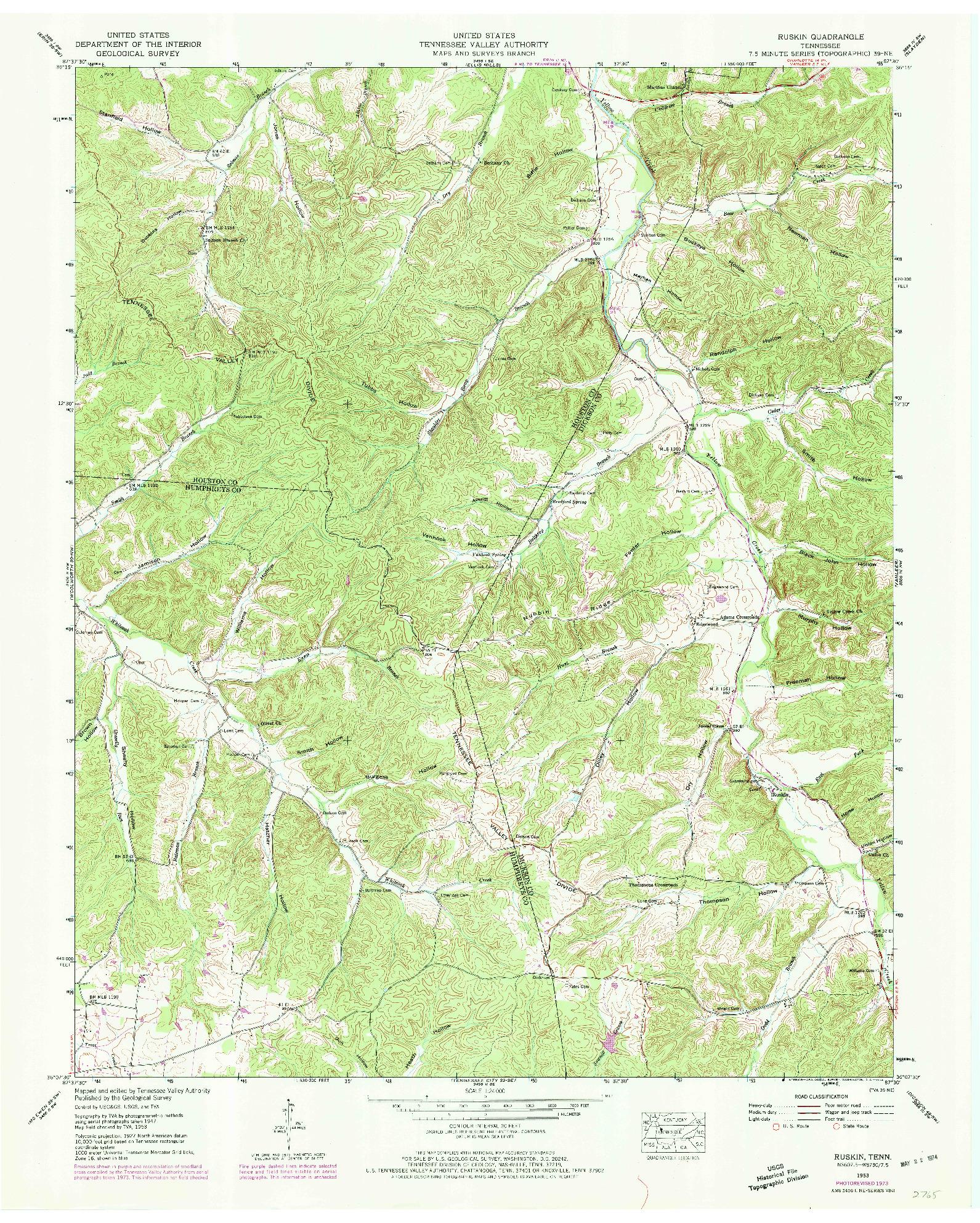 USGS 1:24000-SCALE QUADRANGLE FOR RUSKIN, TN 1953