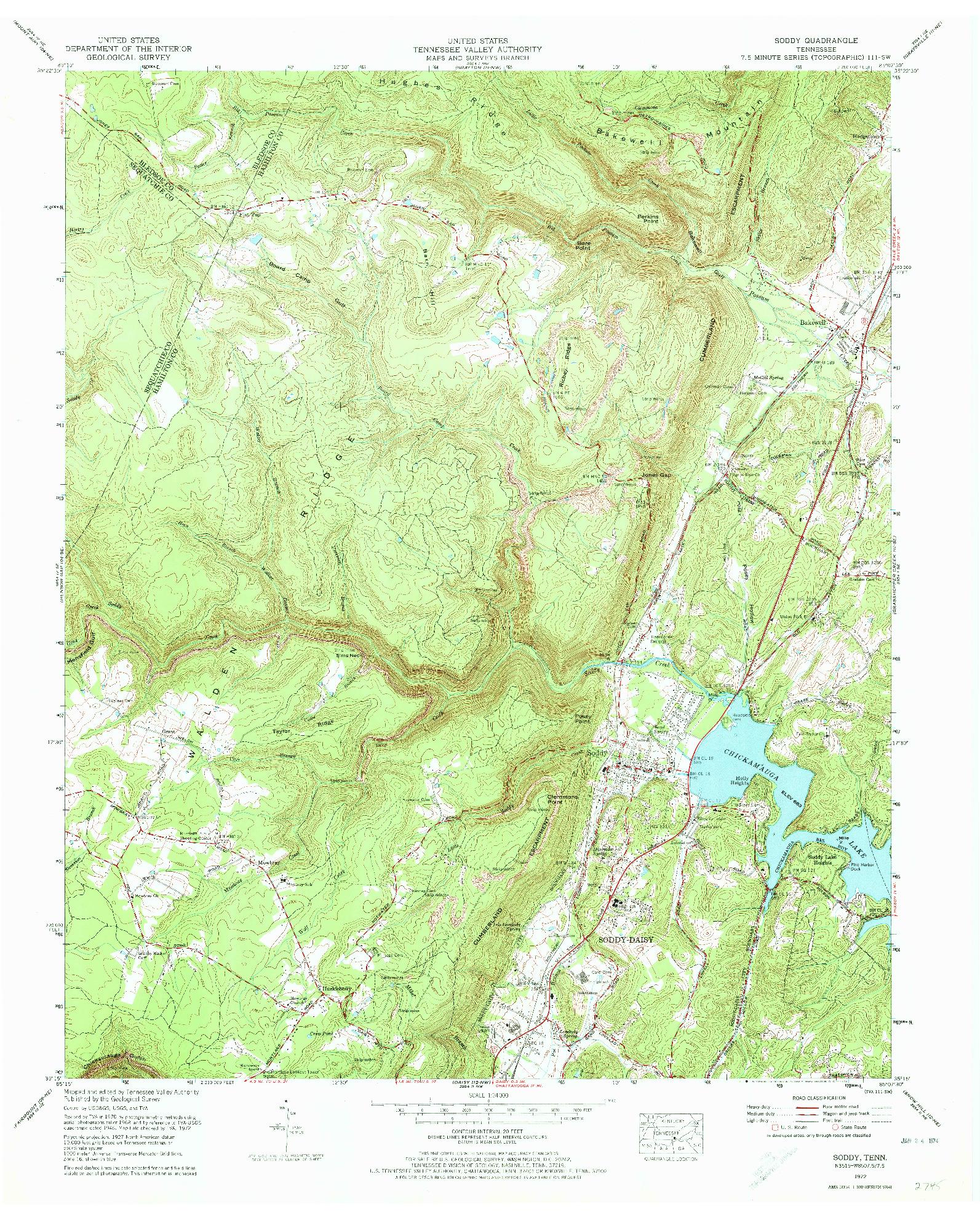 USGS 1:24000-SCALE QUADRANGLE FOR SODDY, TN 1972