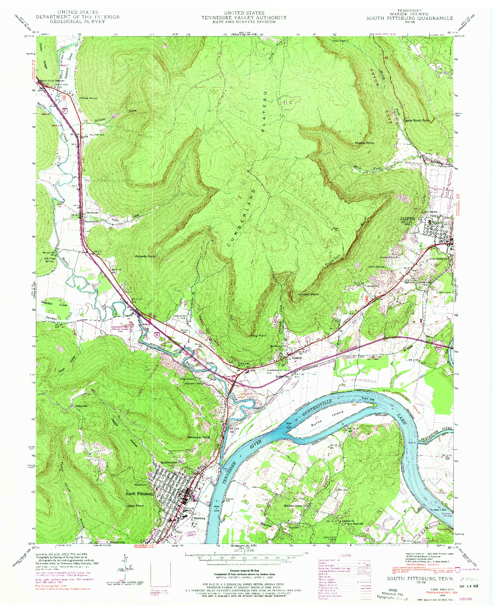 USGS 1:24000-SCALE QUADRANGLE FOR SOUTH PITTSBURG, TN 1942