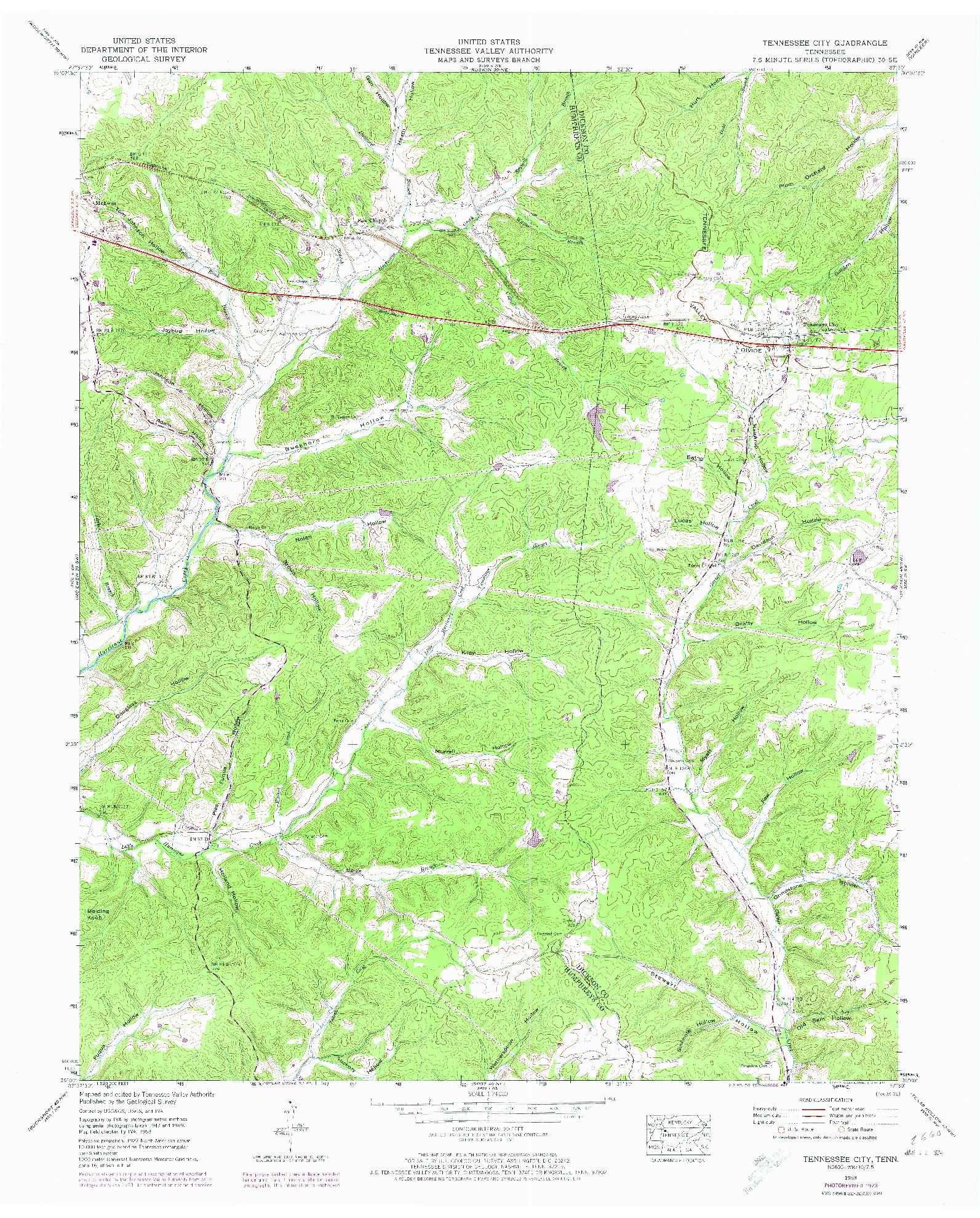 USGS 1:24000-SCALE QUADRANGLE FOR TENNESSEE CITY, TN 1953