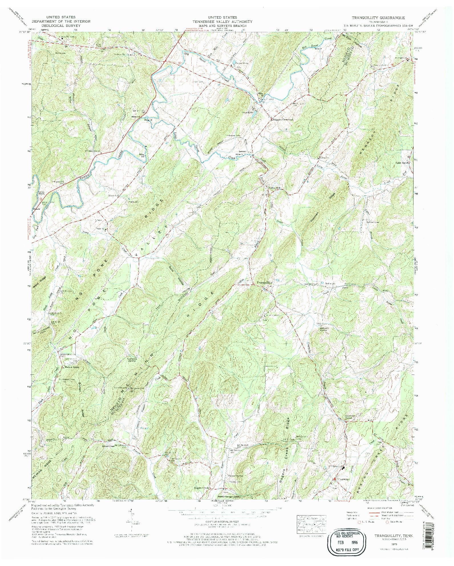 USGS 1:24000-SCALE QUADRANGLE FOR TRANQUILLITY, TN 1973