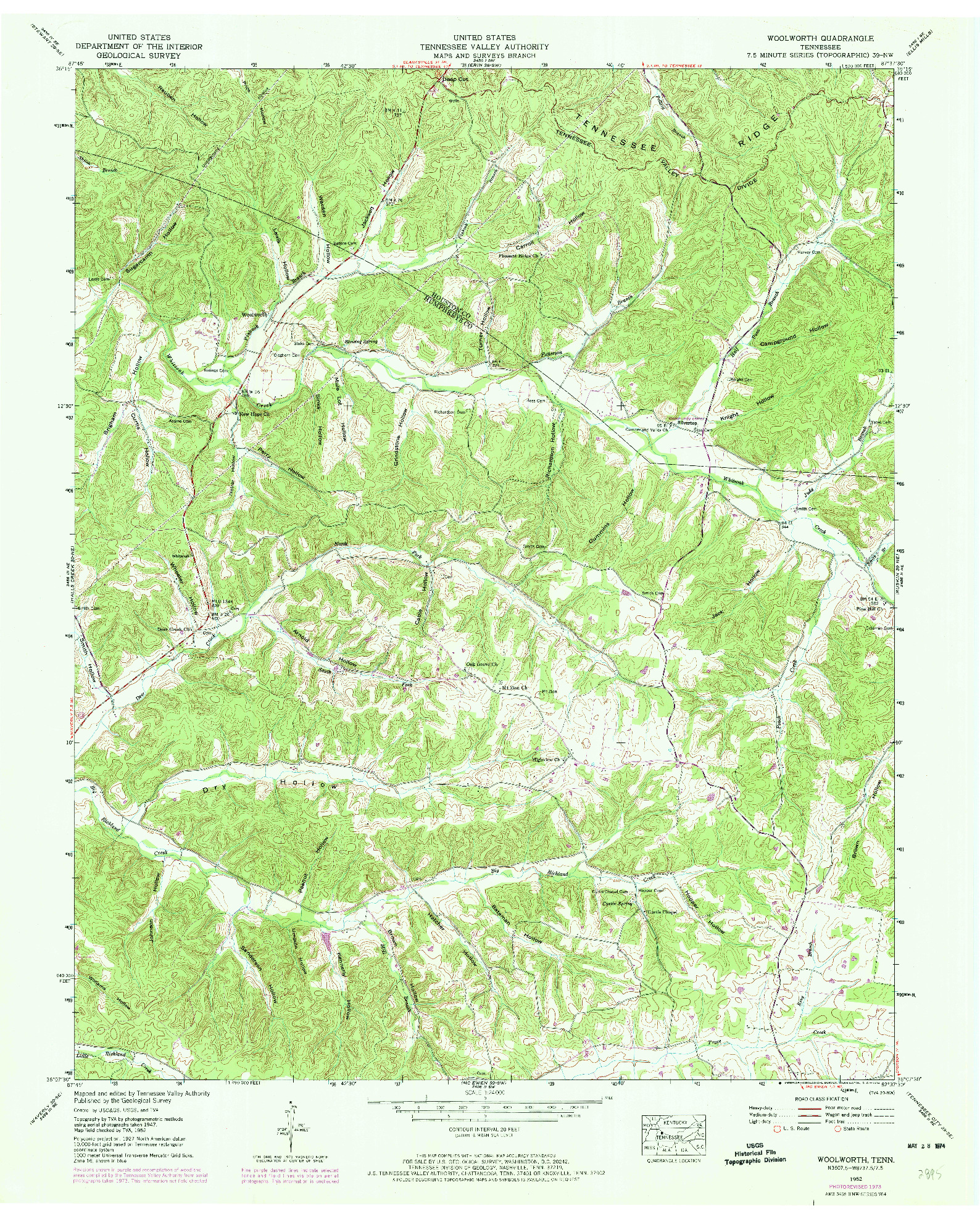USGS 1:24000-SCALE QUADRANGLE FOR WOOLWORTH, TN 1952