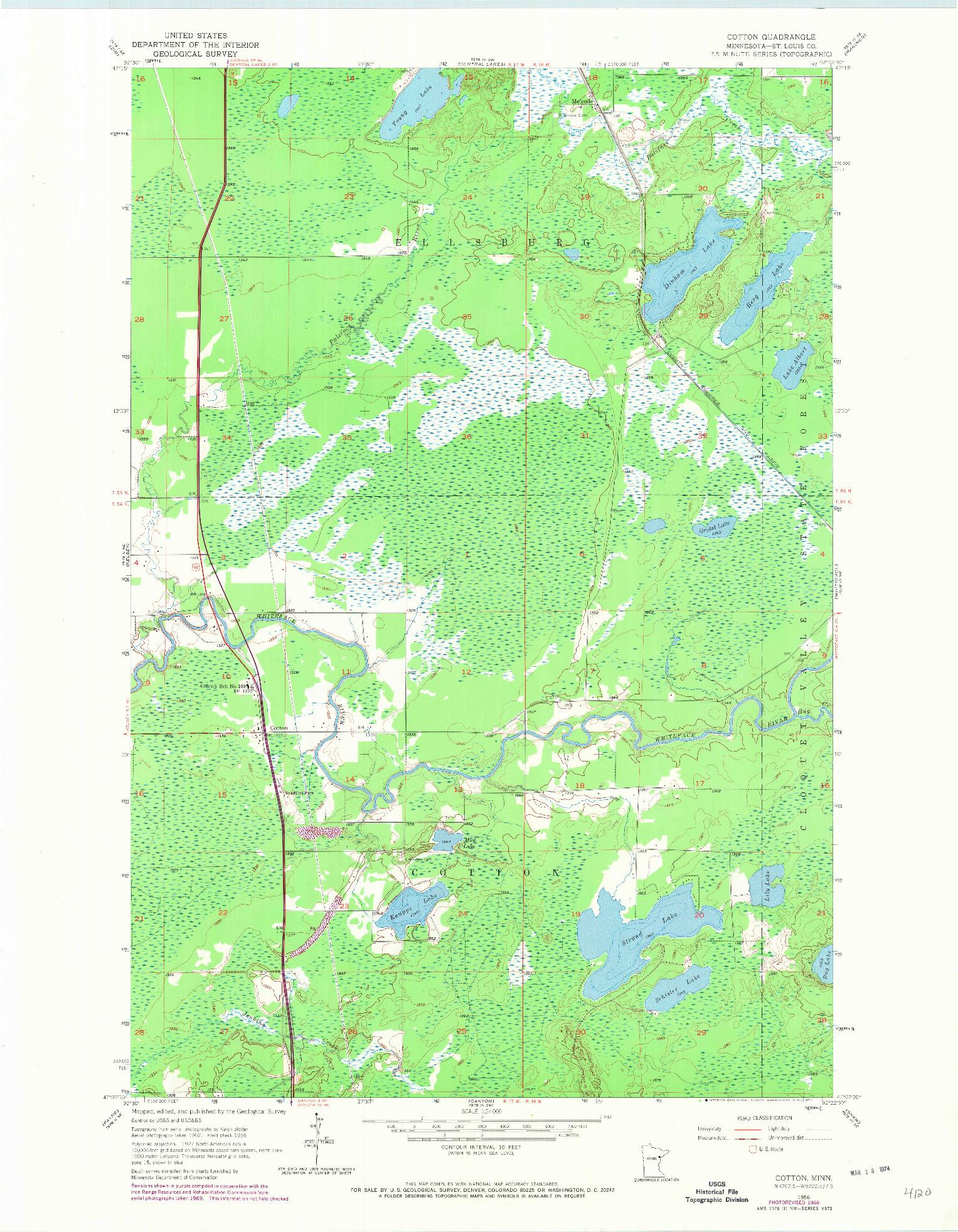 USGS 1:24000-SCALE QUADRANGLE FOR COTTON, MN 1956