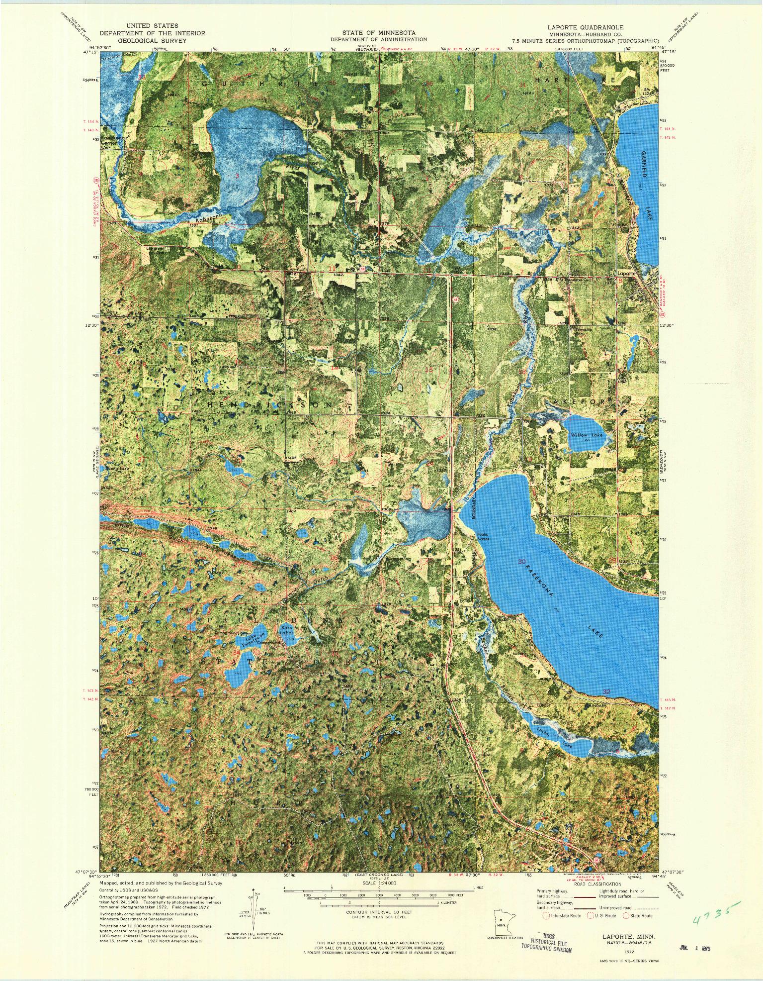 USGS 1:24000-SCALE QUADRANGLE FOR LAPORTE, MN 1972