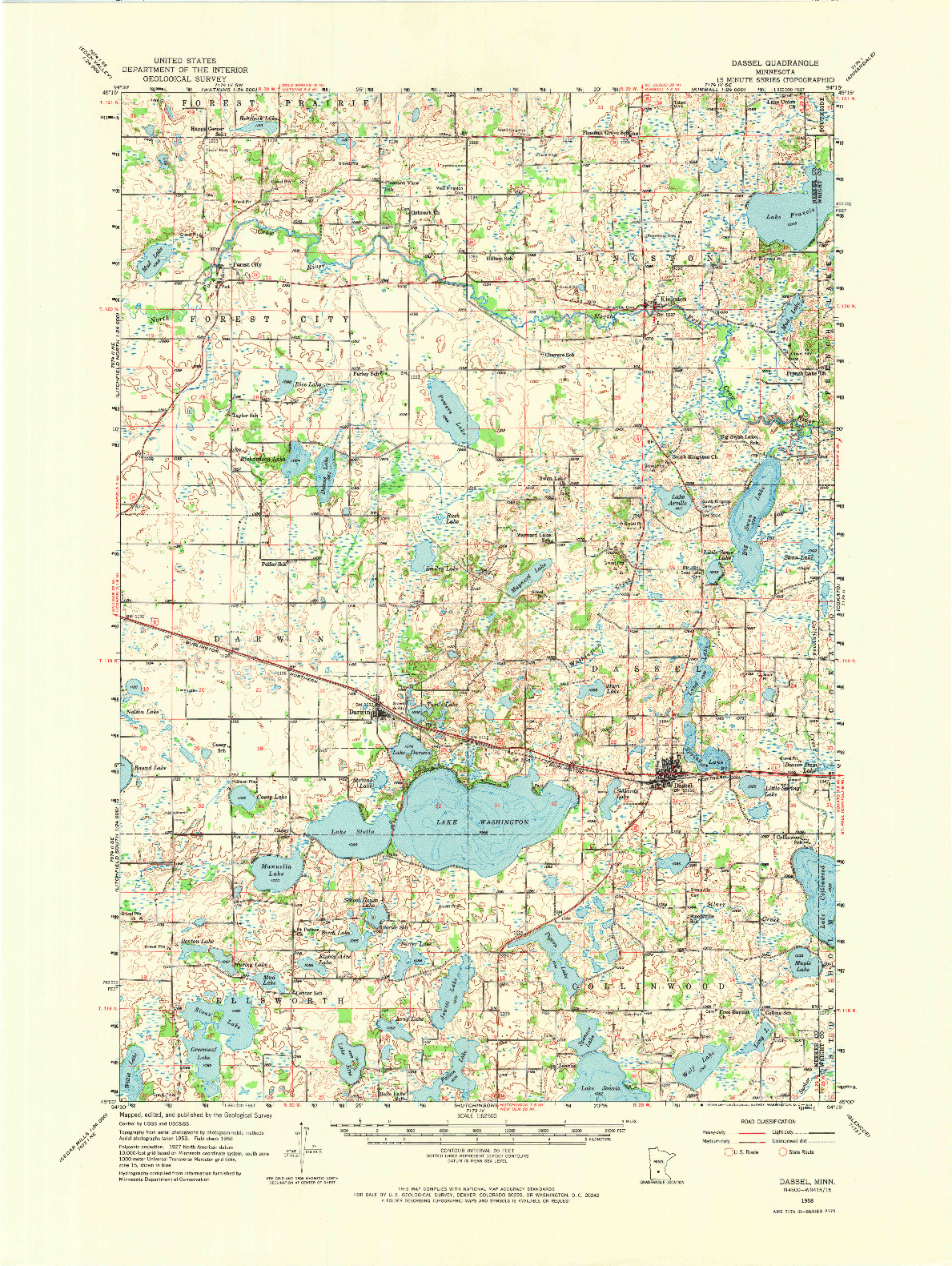 USGS 1:62500-SCALE QUADRANGLE FOR DASSEL, MN 1958
