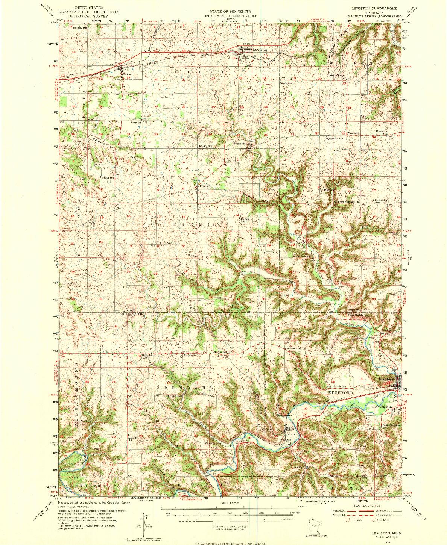 USGS 1:62500-SCALE QUADRANGLE FOR LEWISTON, MN 1954