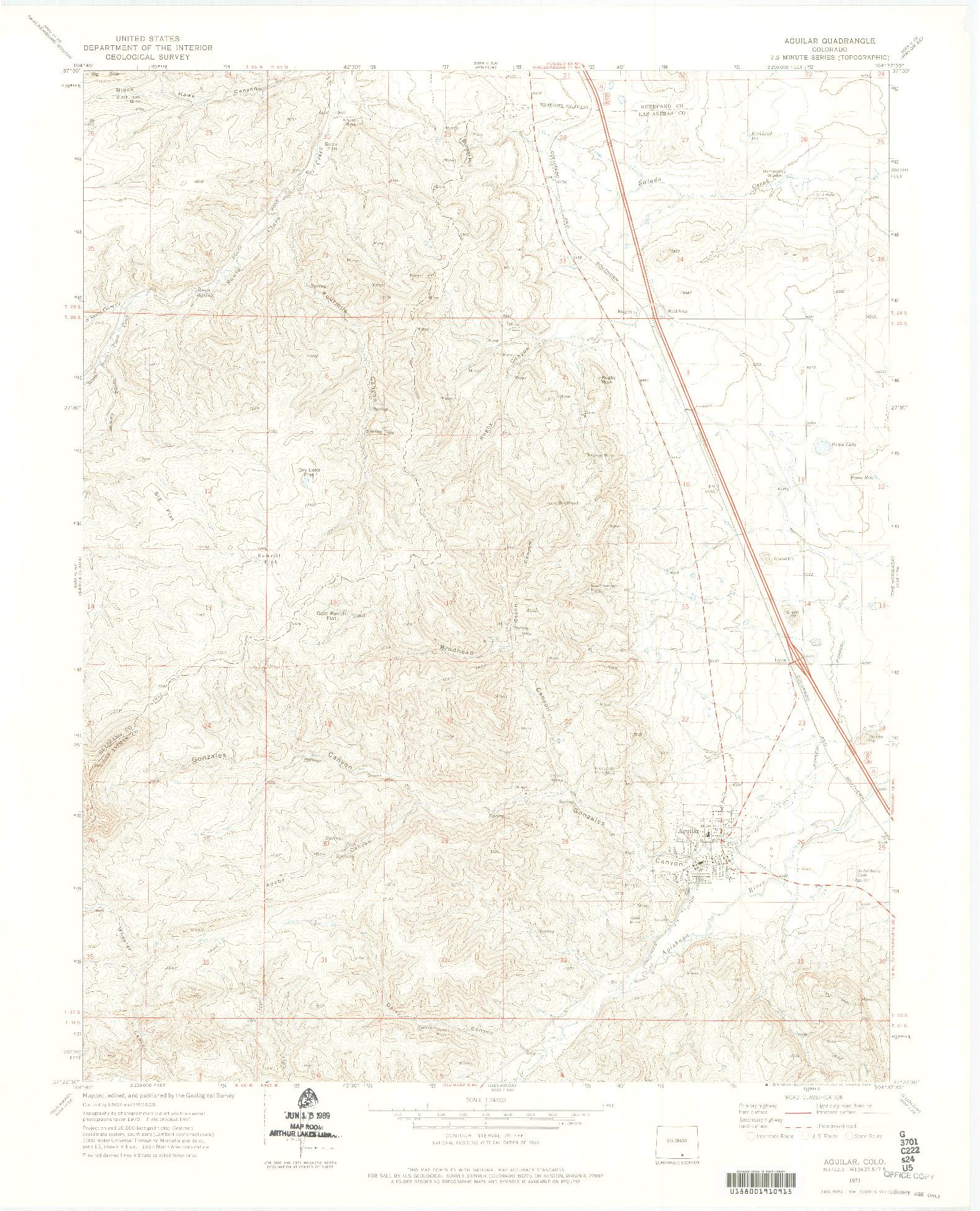 USGS 1:24000-SCALE QUADRANGLE FOR AGUILAR, CO 1971